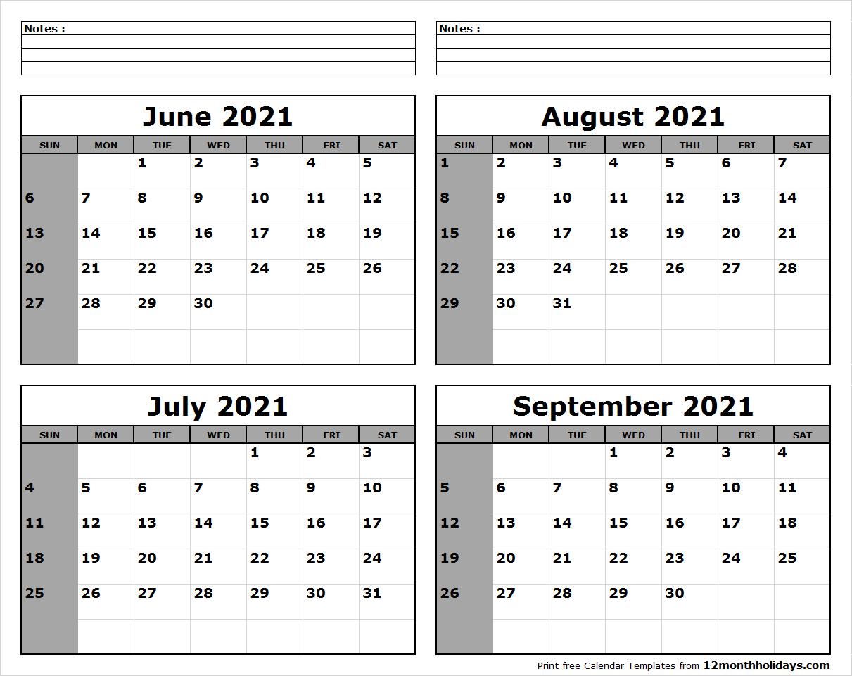 June-July-August-September-2021-Calendar-To-Print - All 12