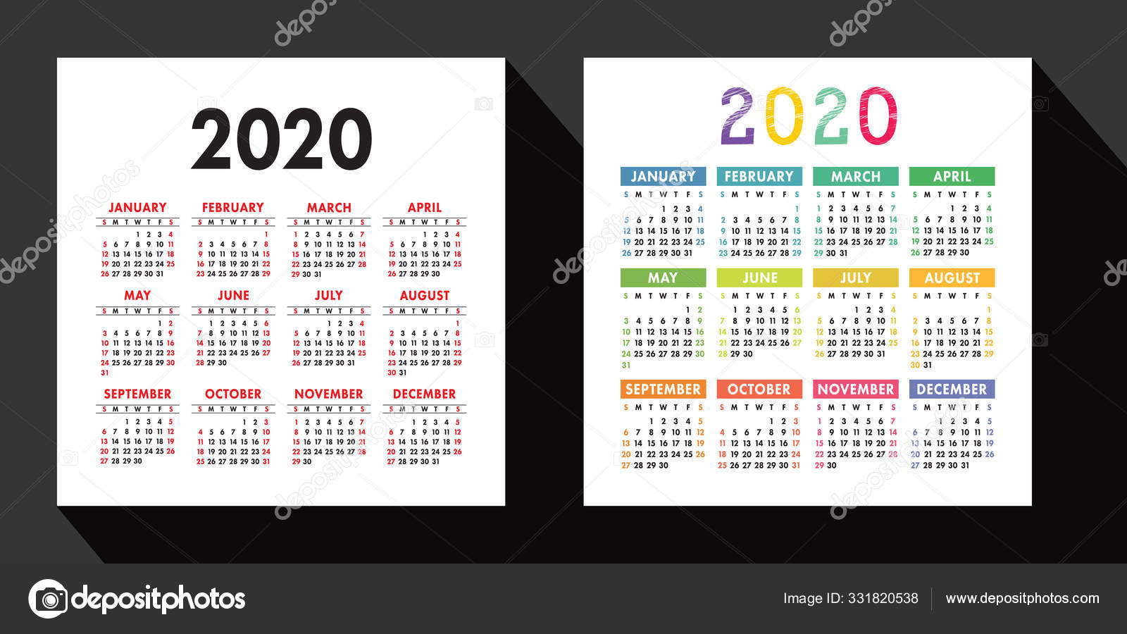 Kalender 2020 Jahr Festgelegt Vektor Design Vorlage