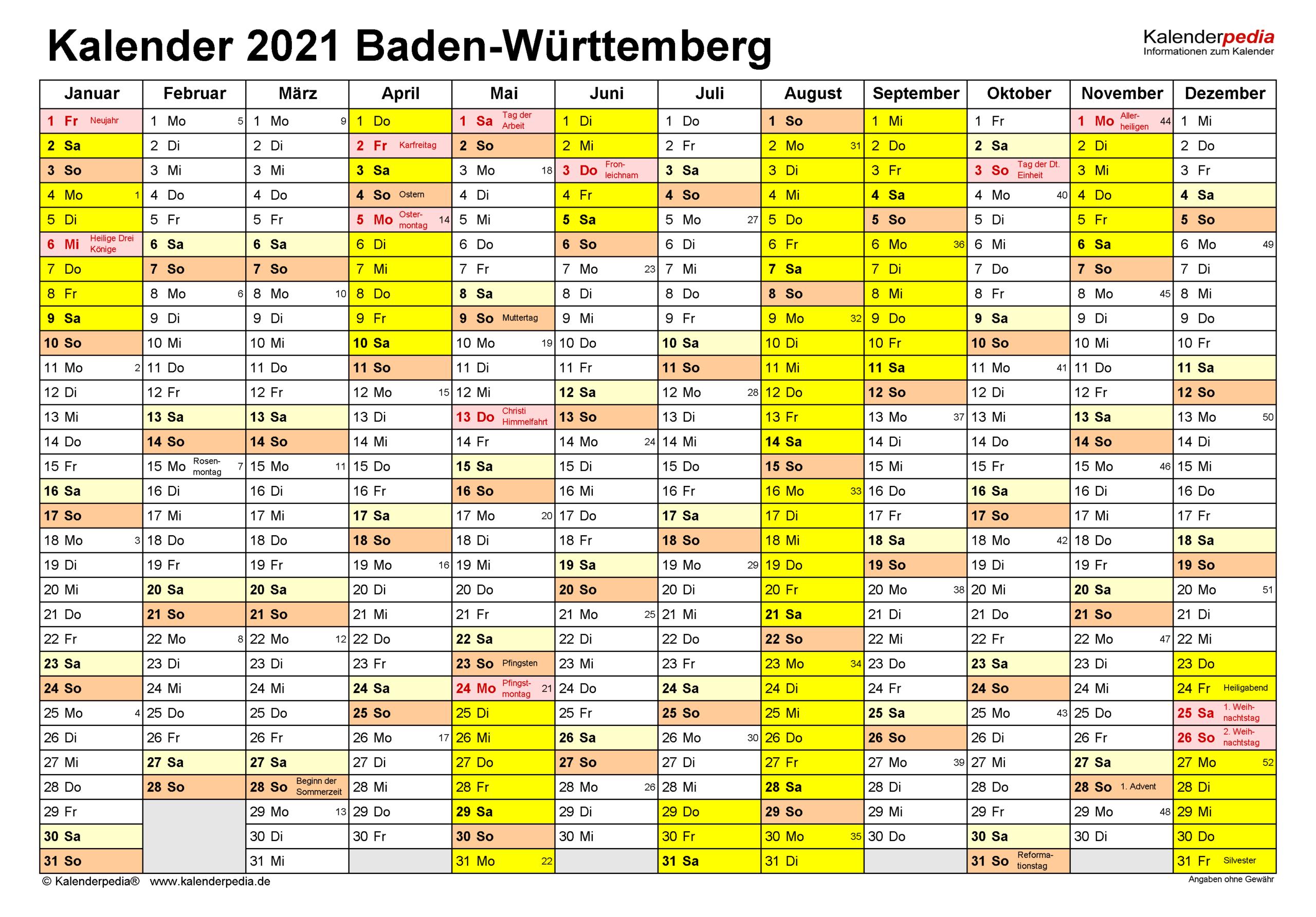 Kalender 2021 Baden-Württemberg: Ferien, Feiertage, Excel