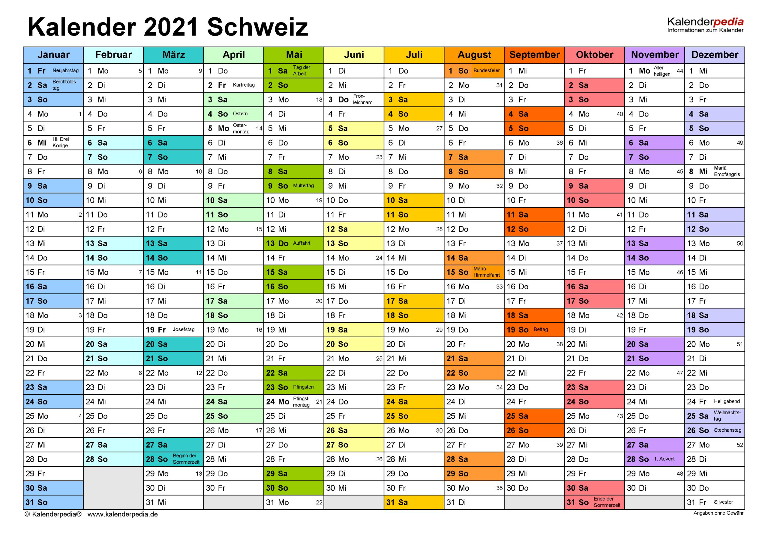 Kalender 2021 Schweiz In Excel Zum Ausdrucken