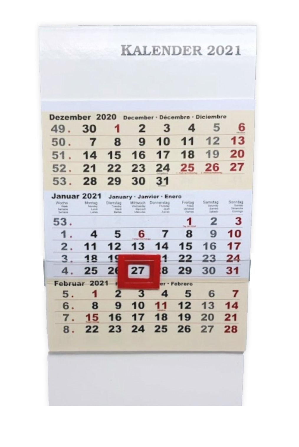 Kalender 2021 Standkalender Tischkalender 3 Monatsansicht 3-Monatskalender  18,5 X 9,5 X 7 Cm | Ceres Webshop