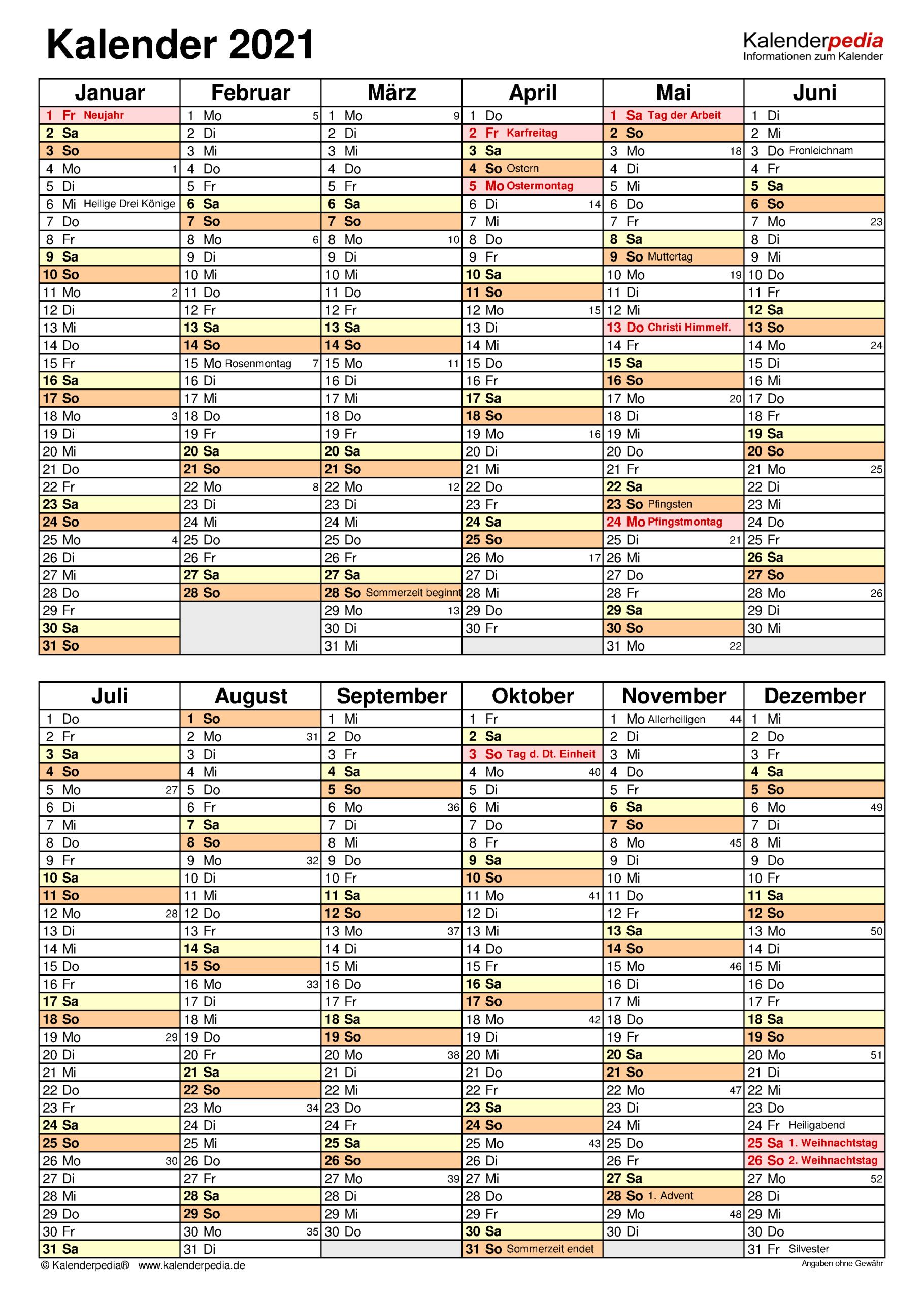 Kalender 2021 Zum Ausdrucken Als Pdf (19 Vorlagen, Kostenlos)