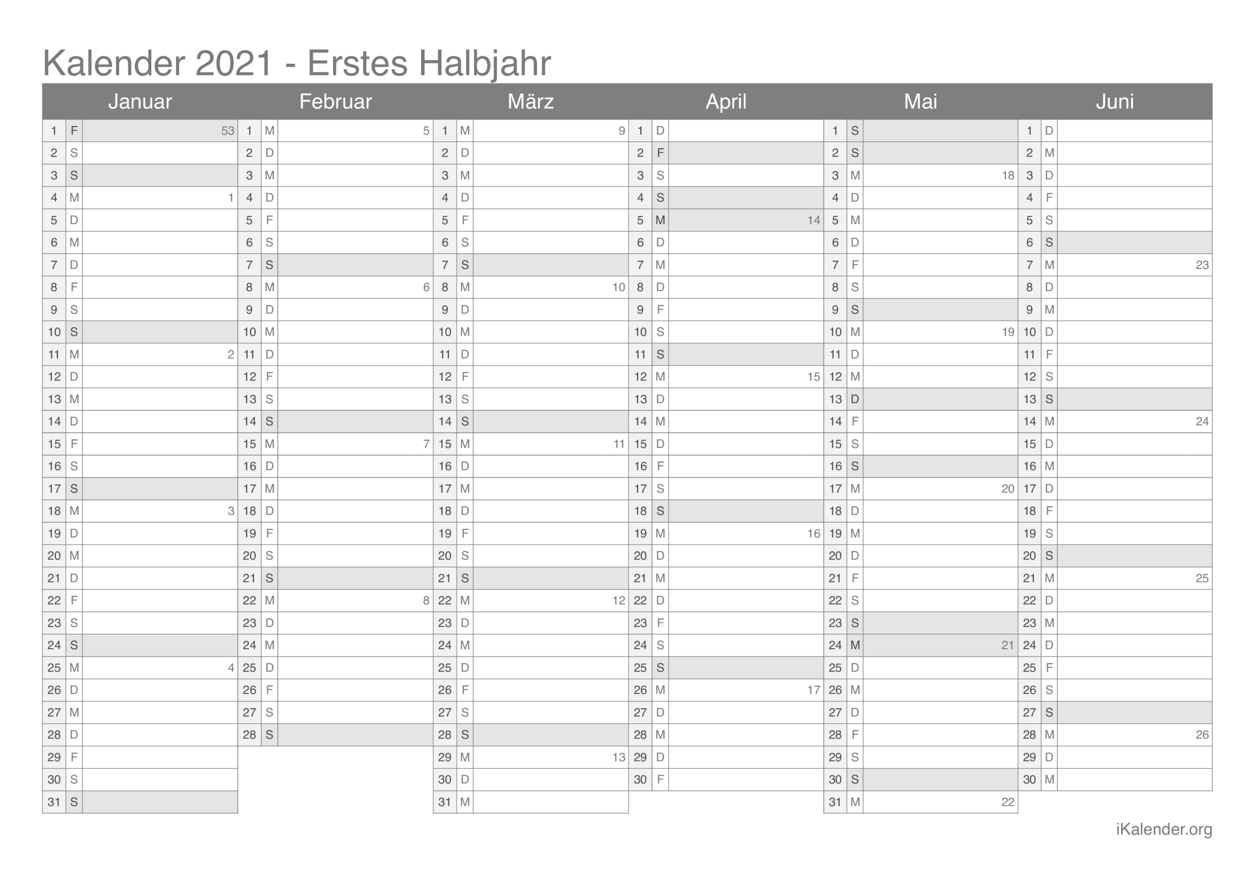Kalender 2021 Zum Ausdrucken - Ikalender