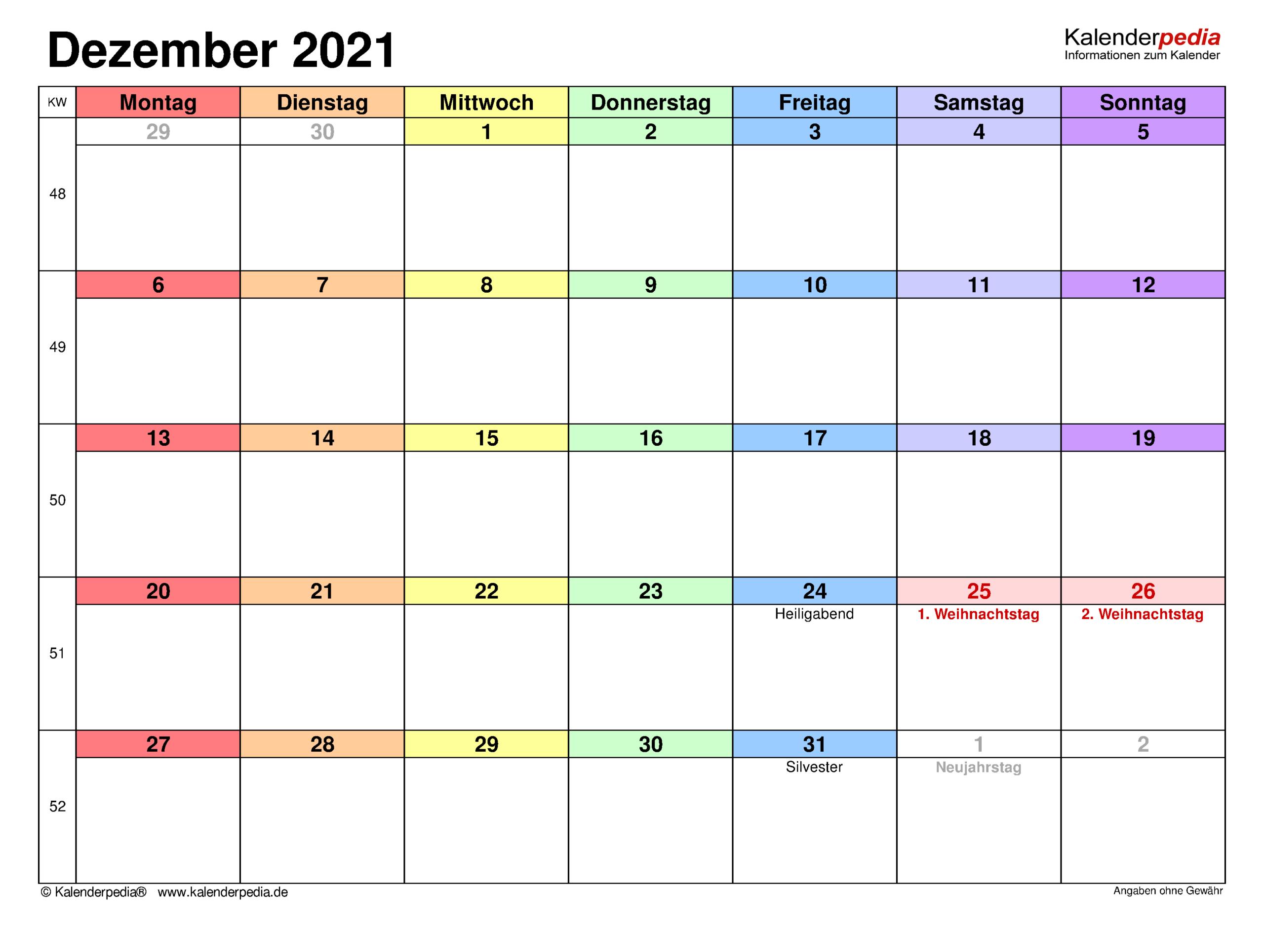 Kalender Dezember 2021 Als Pdf-Vorlagen