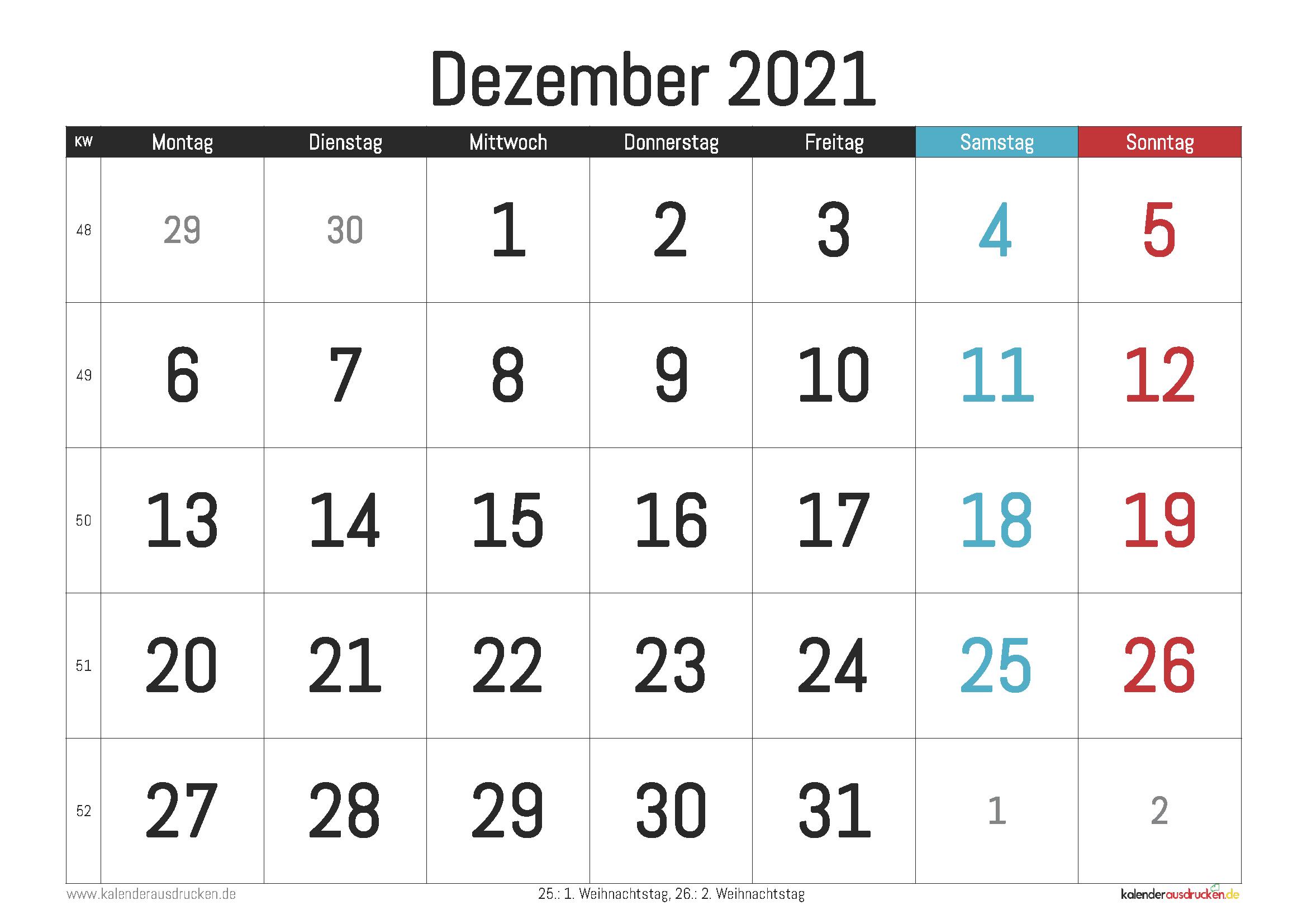 Kalender Dezember 2021 Zum Ausdrucken - Kalender 2021 Zum