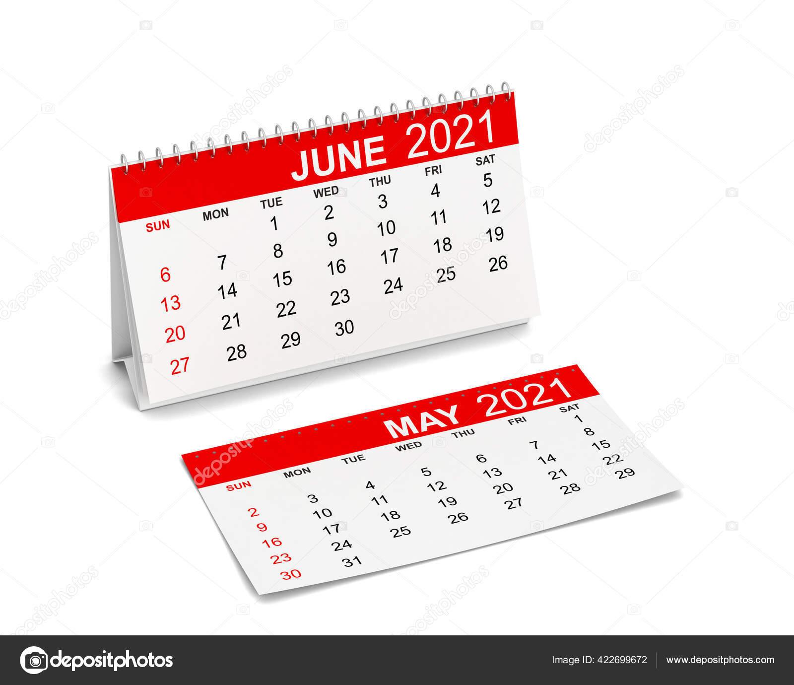 Kalender Für Das Jahr 2021. Die Woche Beginnt Mit Sonntag. 3D-Illustration  Isoliert Auf Weißem Hintergrund 422699672