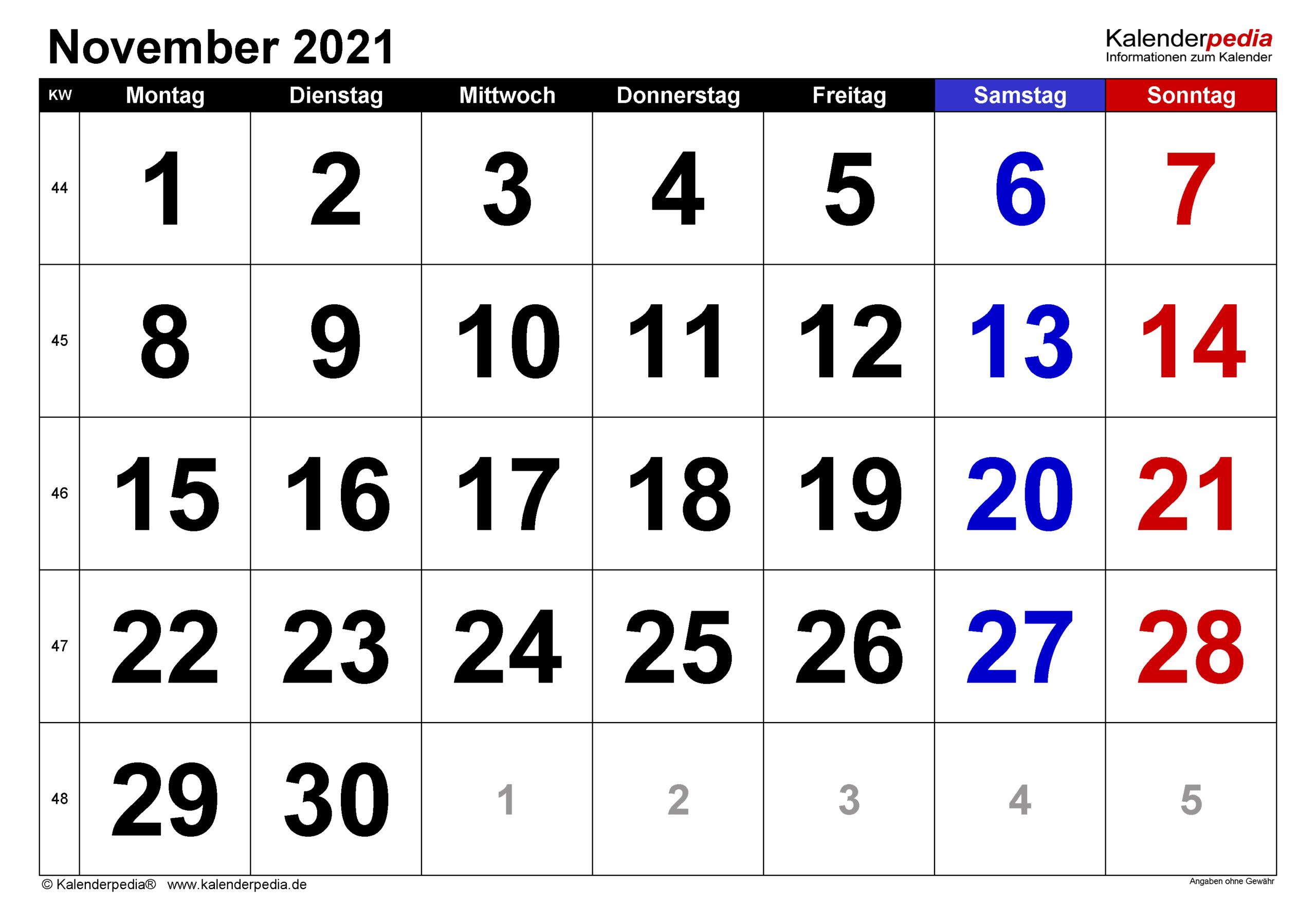 Kalender November 2021 Als Excel-Vorlagen