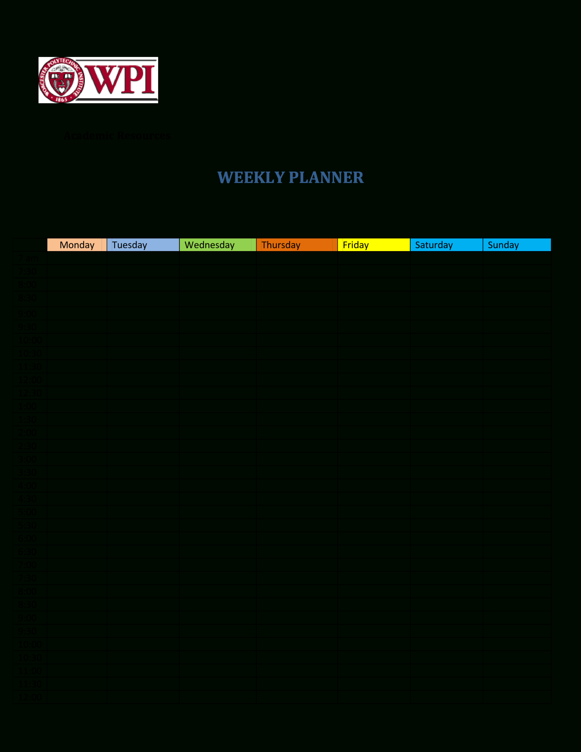 Kostenloses Printable Weekly Planner