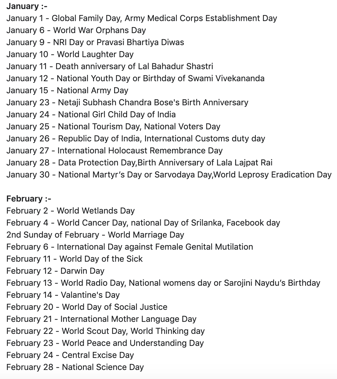 List Of National And International Days | Month Wise