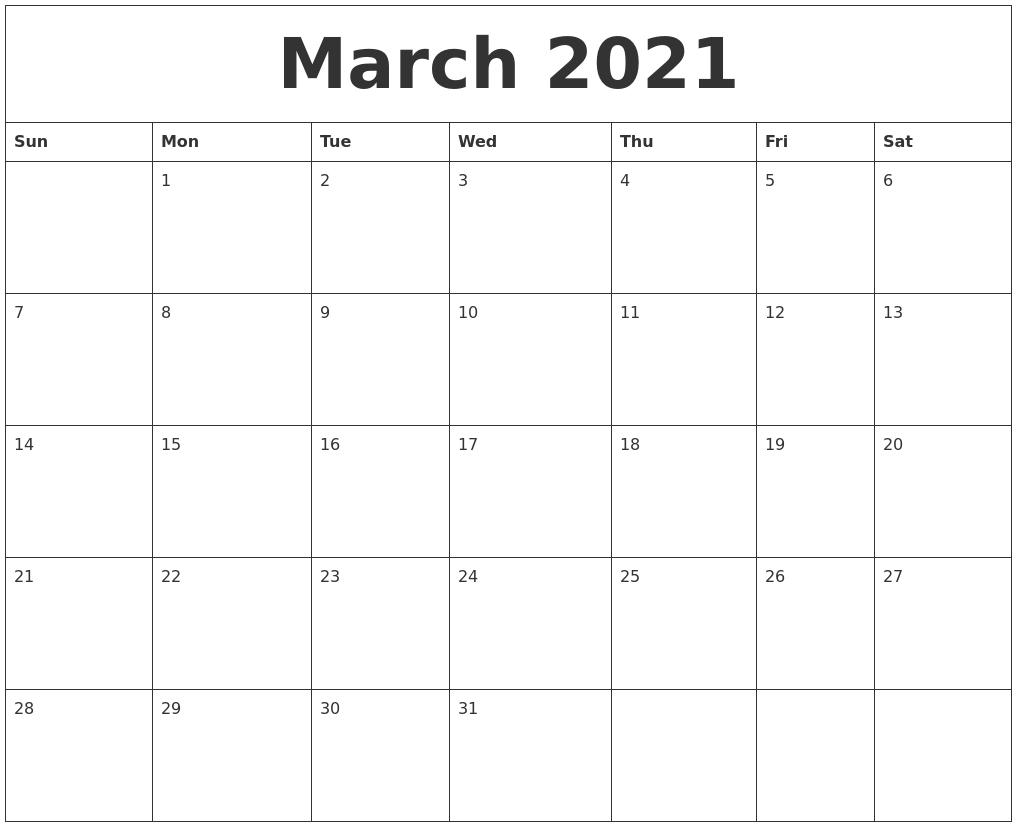 March 2021 Word Calendar