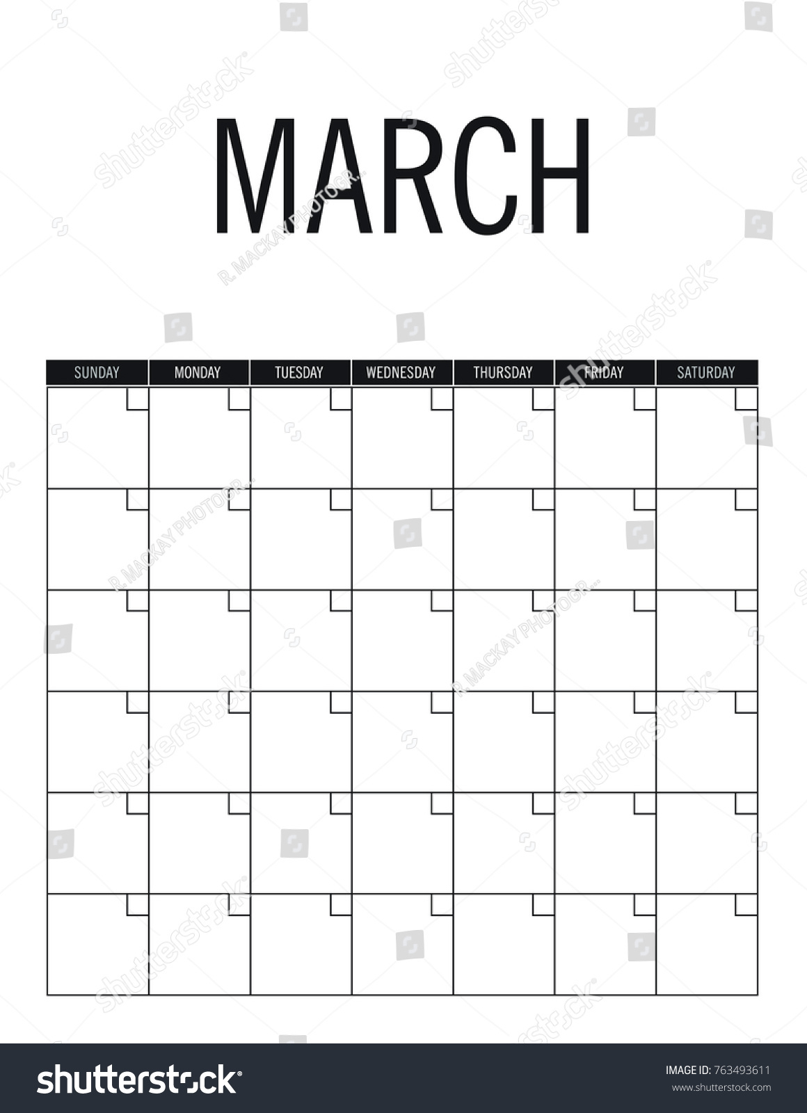 March Blank Calendar Page No Dates Stock-Vektorgrafik