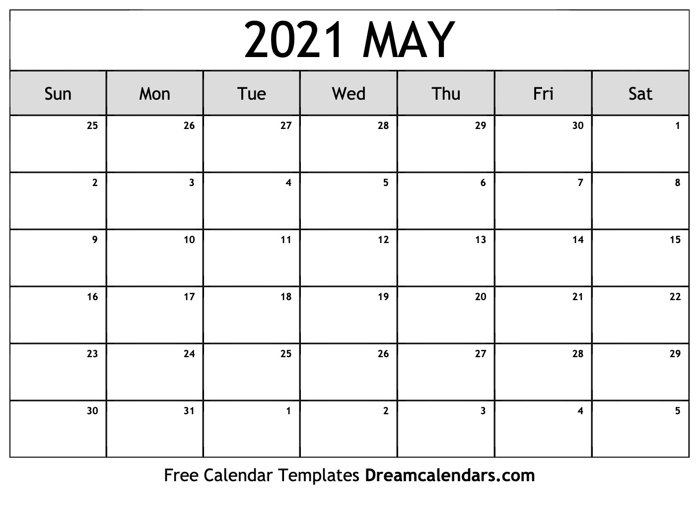 May 2021 Calendar | Free Blank Printable Templates