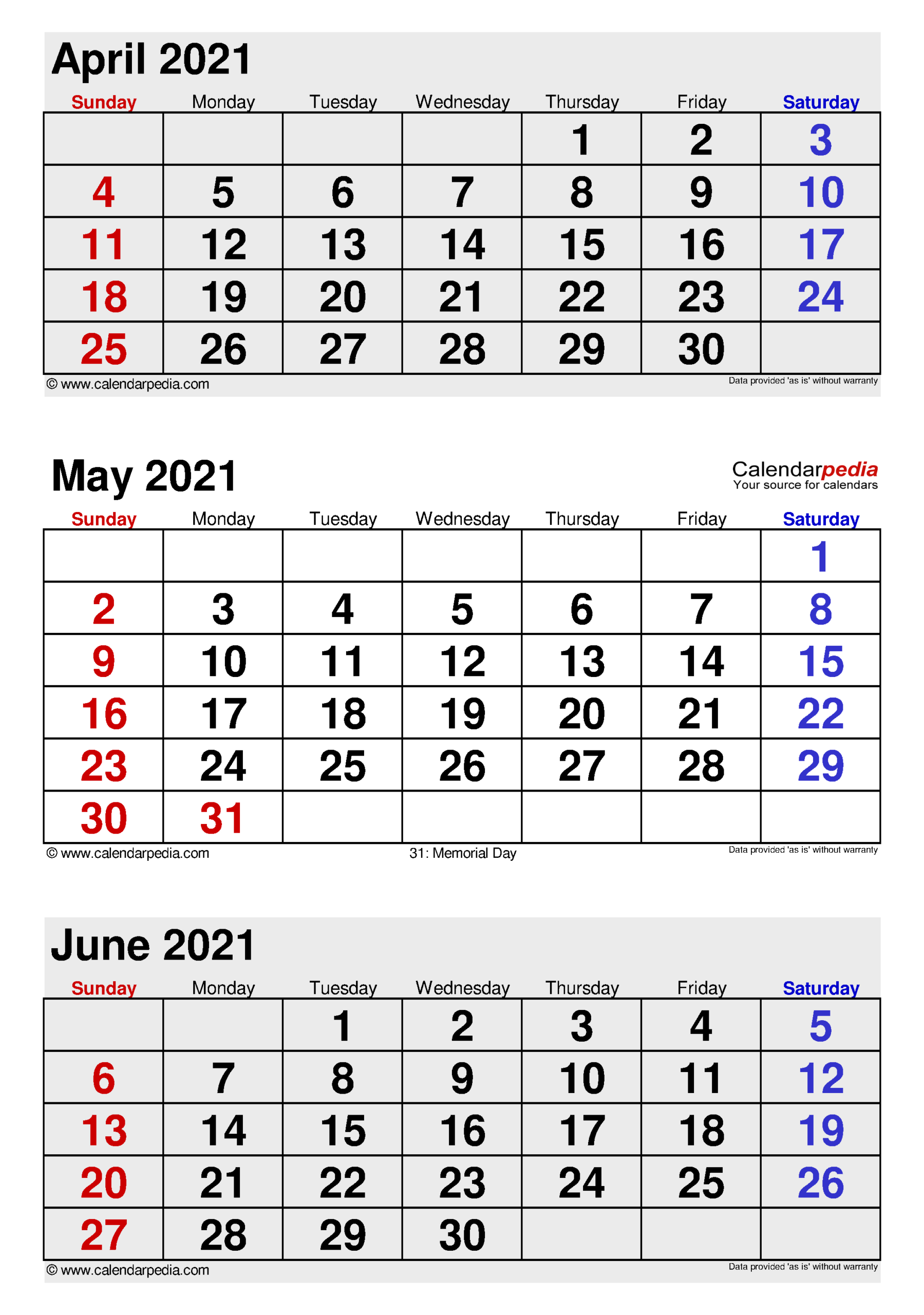 May 2021 Calendar | Templates For Word, Excel And Pdf