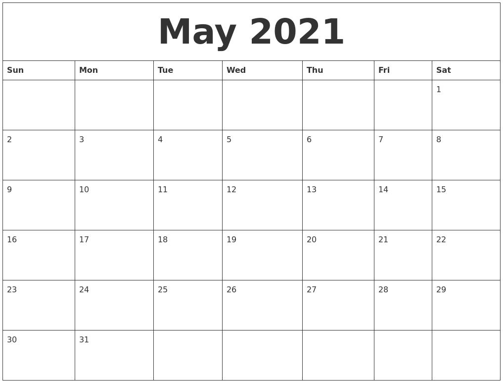 May 2021 Month Calendar Template