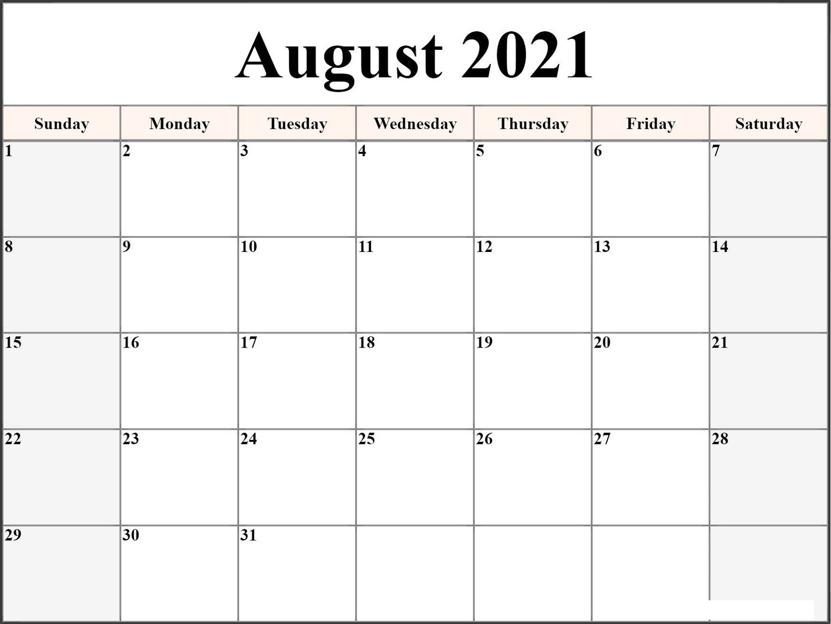 Microsoft Word Calendar Template 2021 Monthly | Free