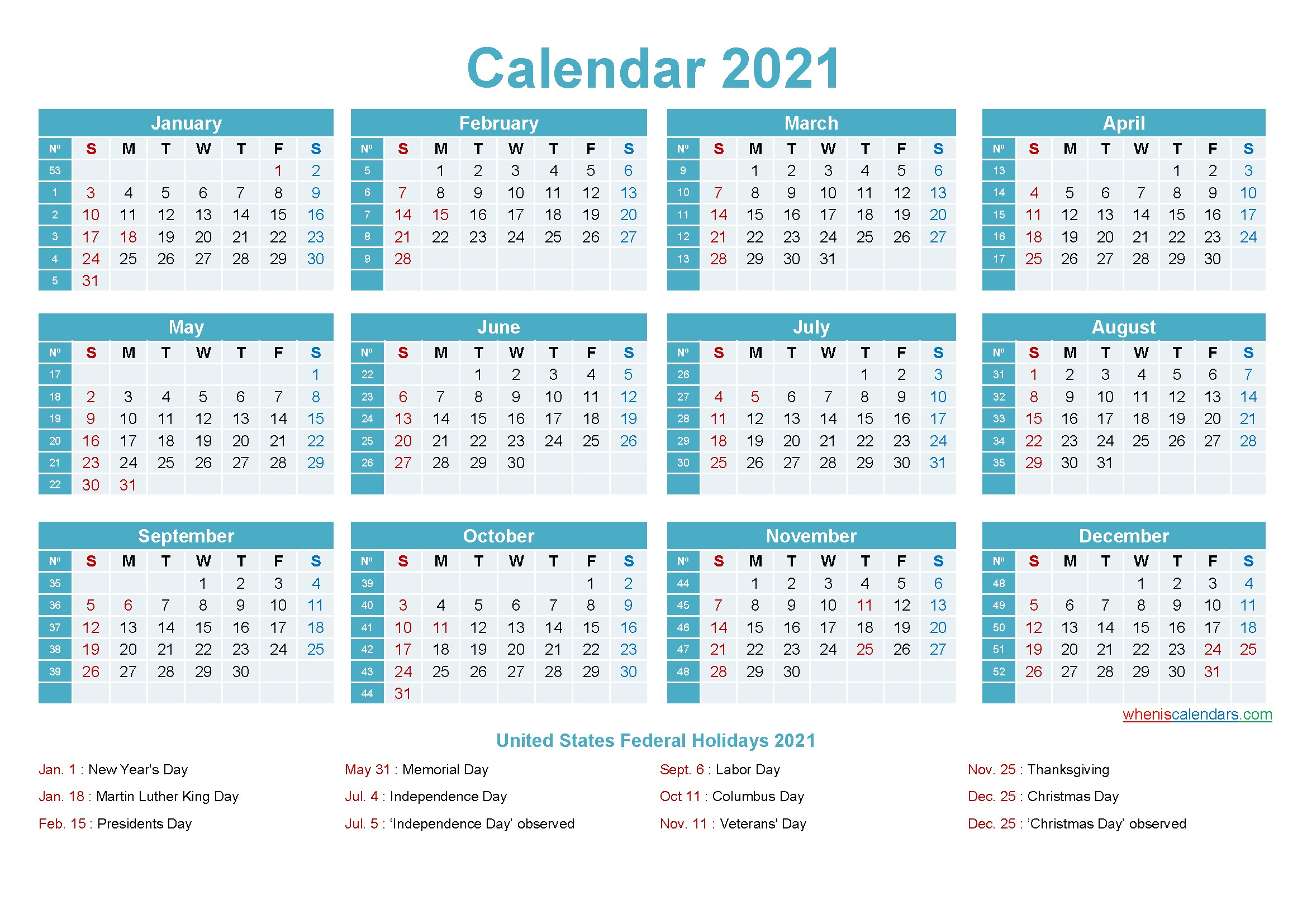 Microsoft Word Calendar Template 2021 Monthly | Get Free