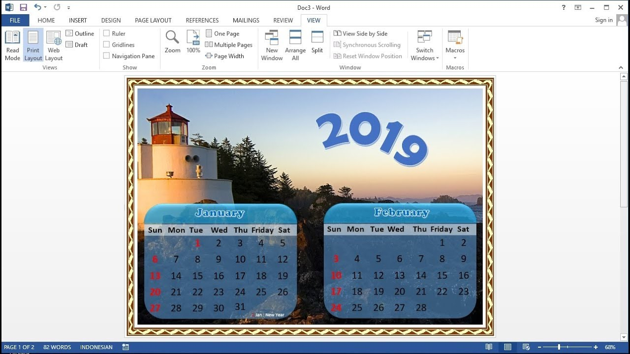 Microsoft Word Tutorial |How To Make A 1-Page Calendar 2 Months In Ms Word