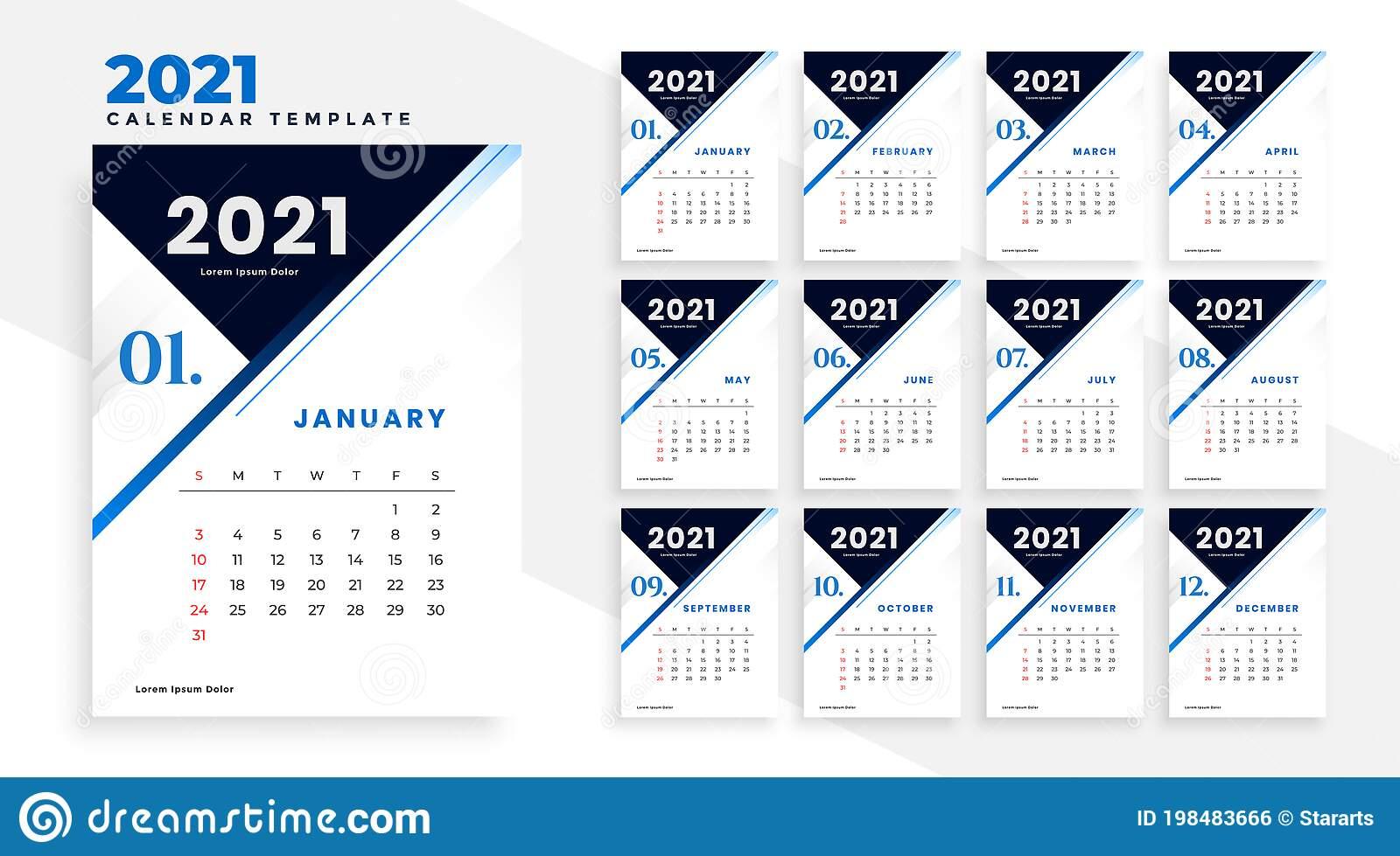 Modern 2021 Business Calendar Template Design Stock Vector