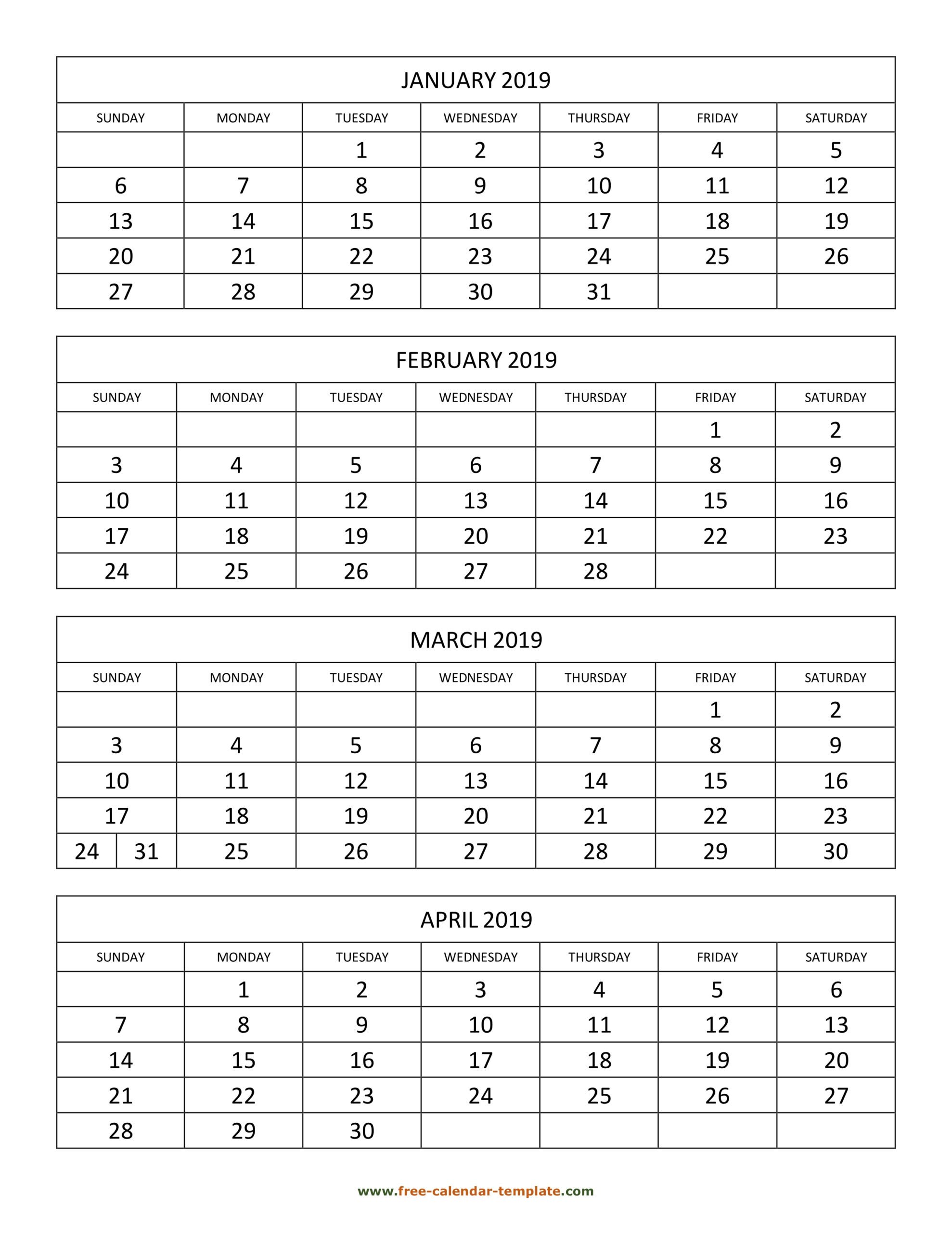 Monthly 2019 Calendar 4 Months Per Page (Vertical) | Free