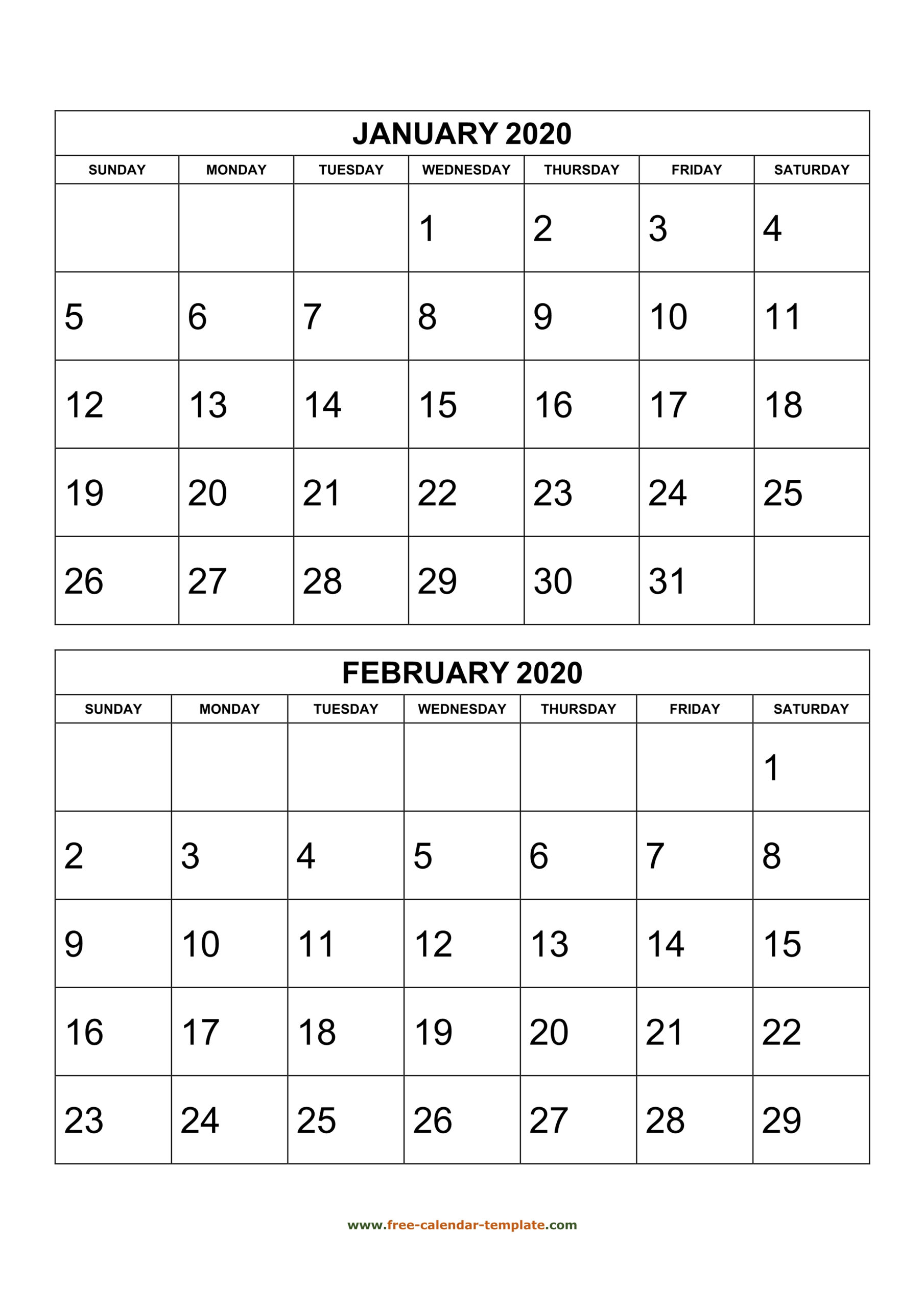 Monthly Calendar 2020, 2 Months Per Page (Vertical) | Free