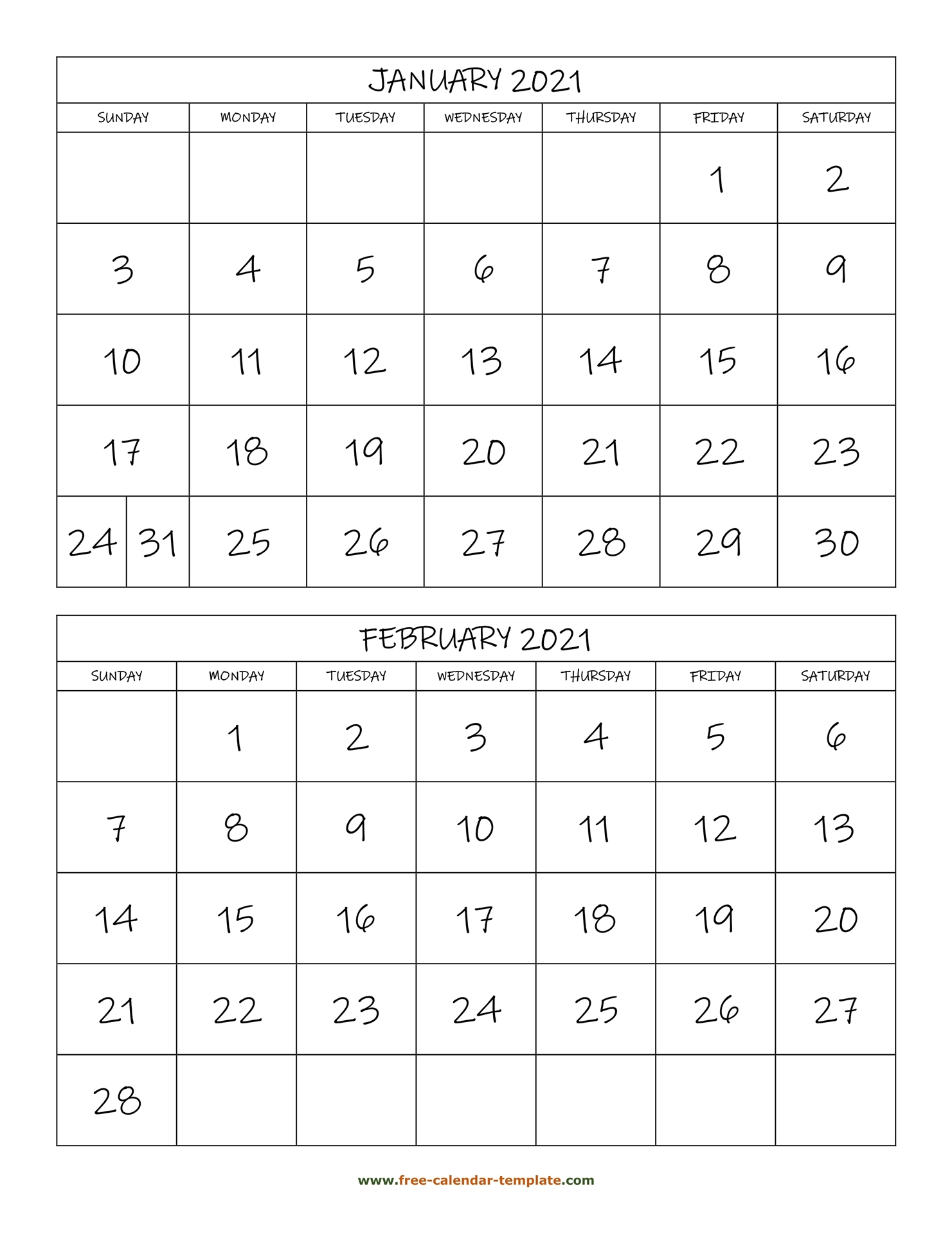 Monthly Calendar 2021, 2 Months Per Page (Vertical) | Free