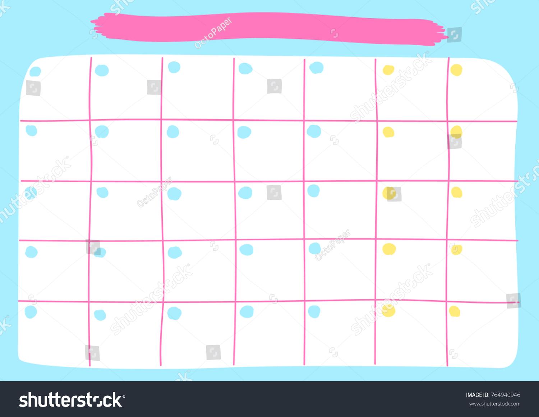 Monthly Calendar Template Printable Pastel Calendar Stock