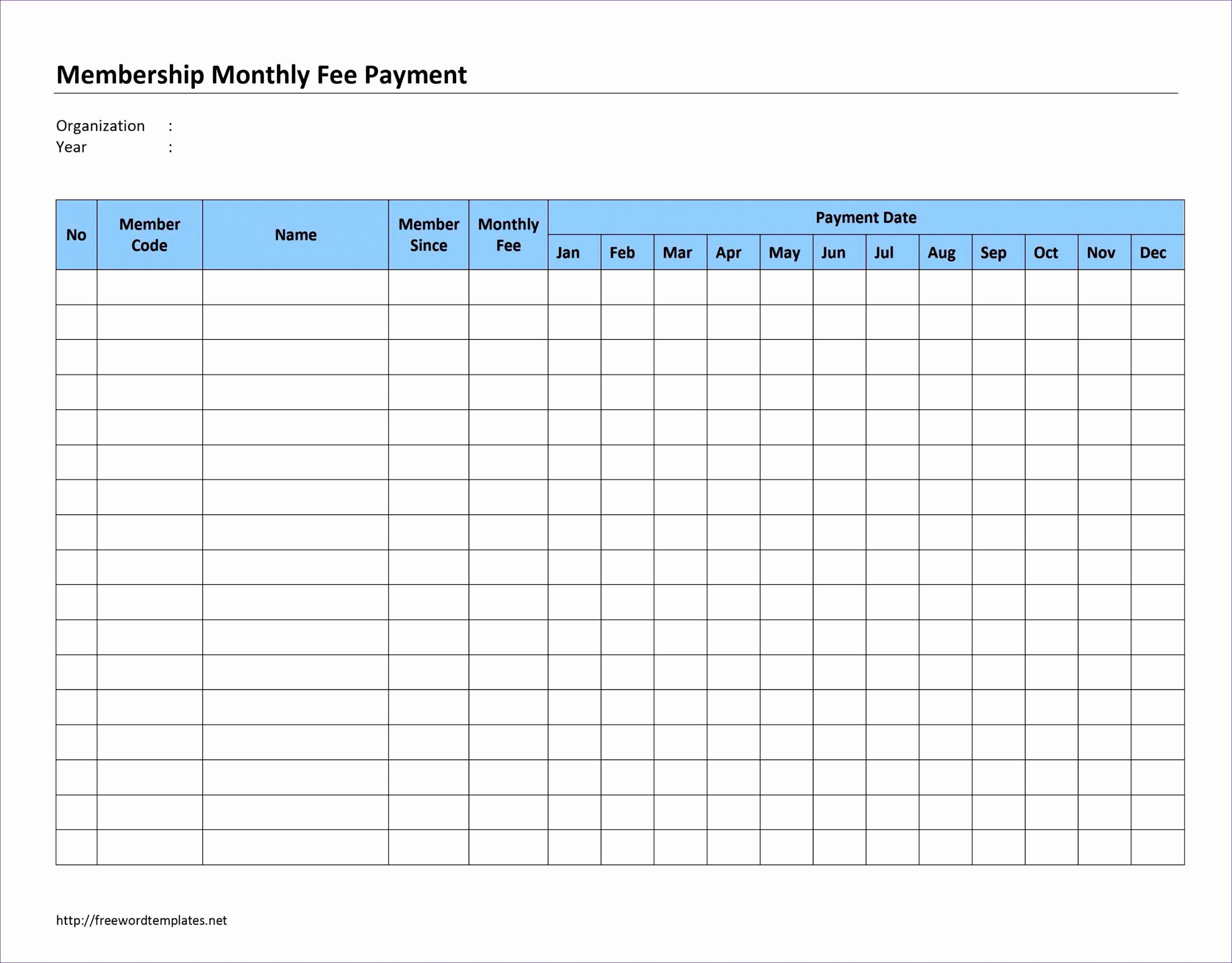 Monthly Payment Schedule Template Elegant Free Weekly