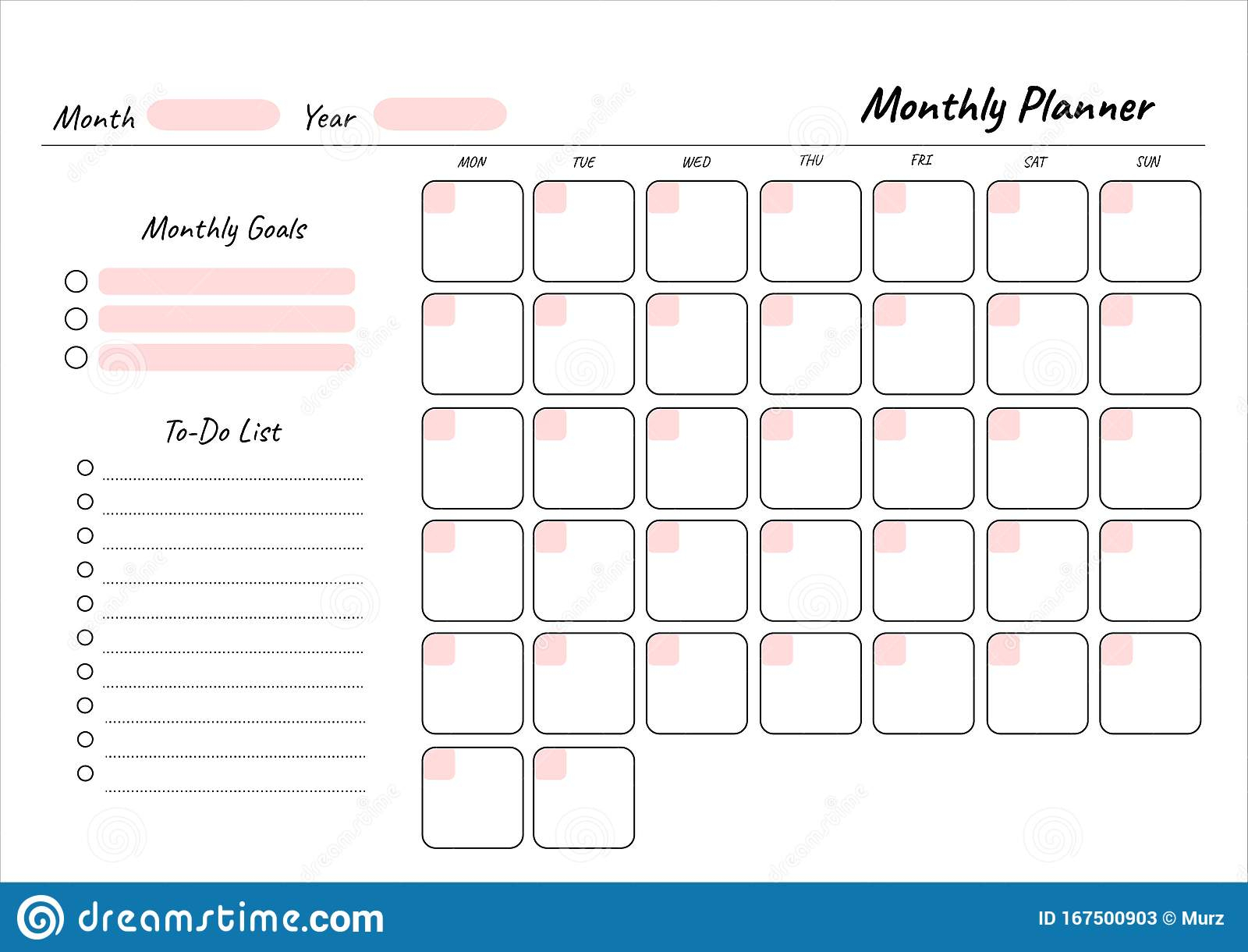 Monthly Planner Stock Illustrations – 40,219 Monthly Planner