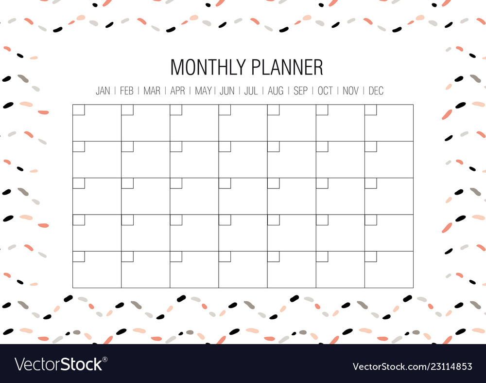 Monthly Planner Template Royalty Free Vector Image
