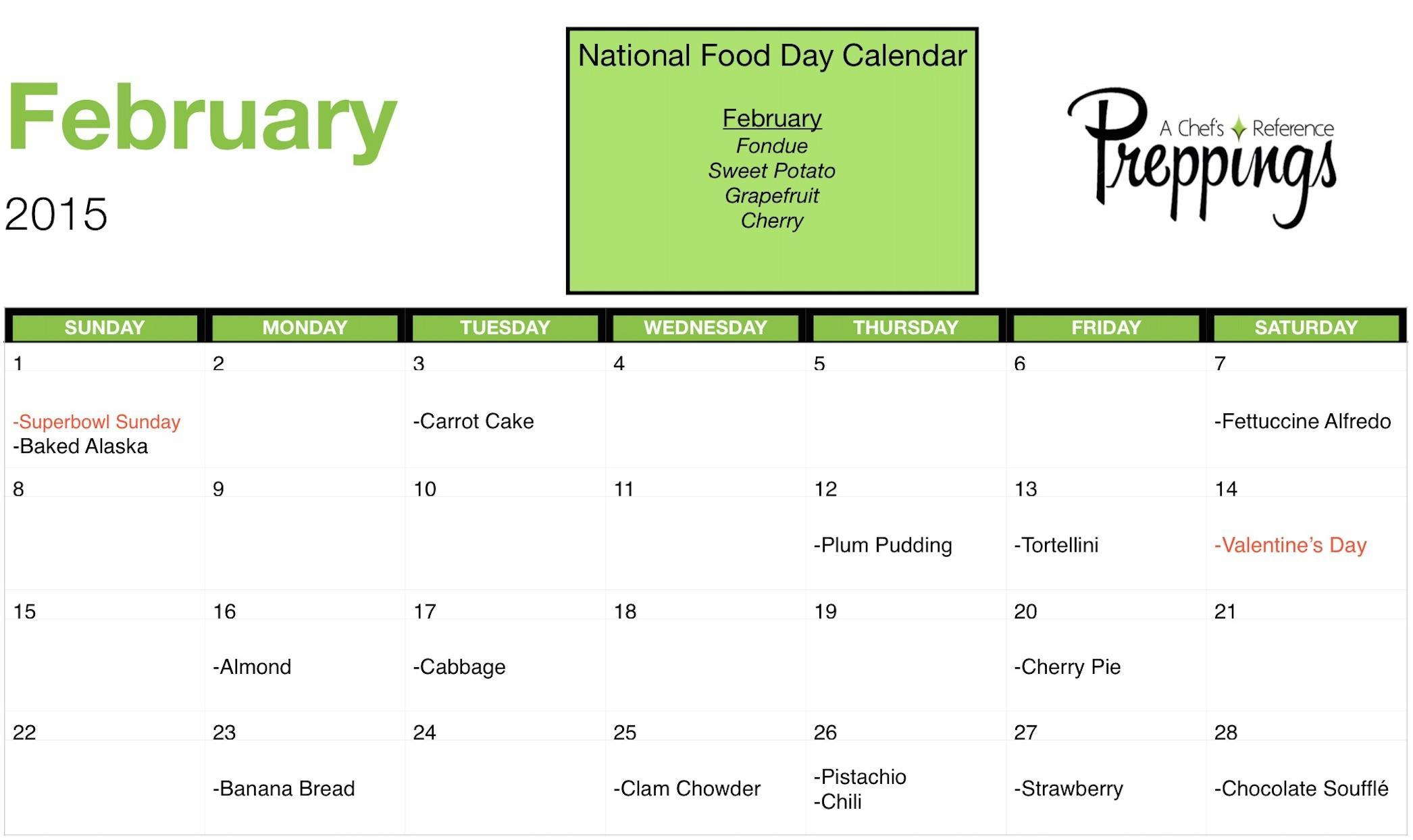National Food Days- February 2015 - Preppings