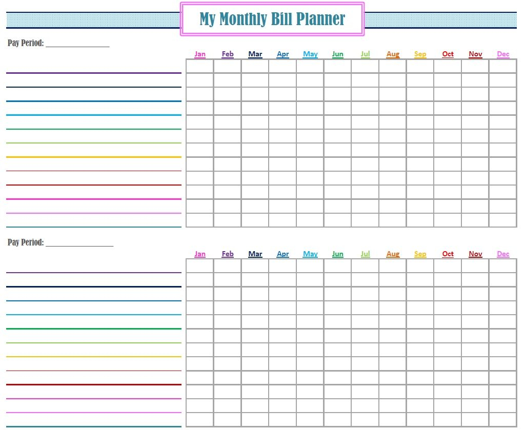 New Monthly Bill Planner | Bill Calendar, Bill Planner