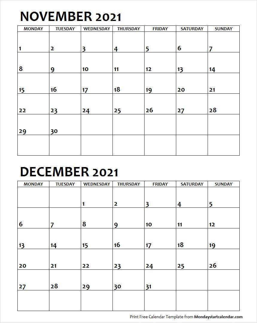 Nov Dec 2021 Calendar Monday Start | Editable Two Months