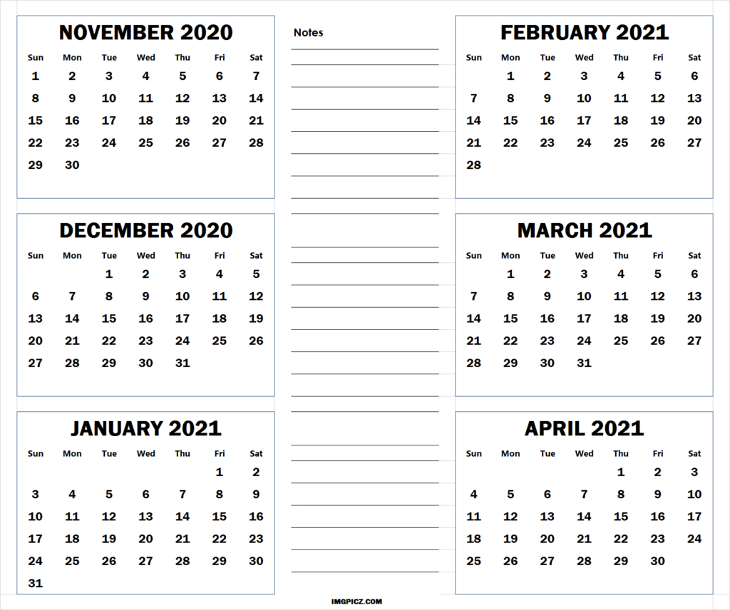 November 2020 To April 2021 Calendar Template | 6 Months