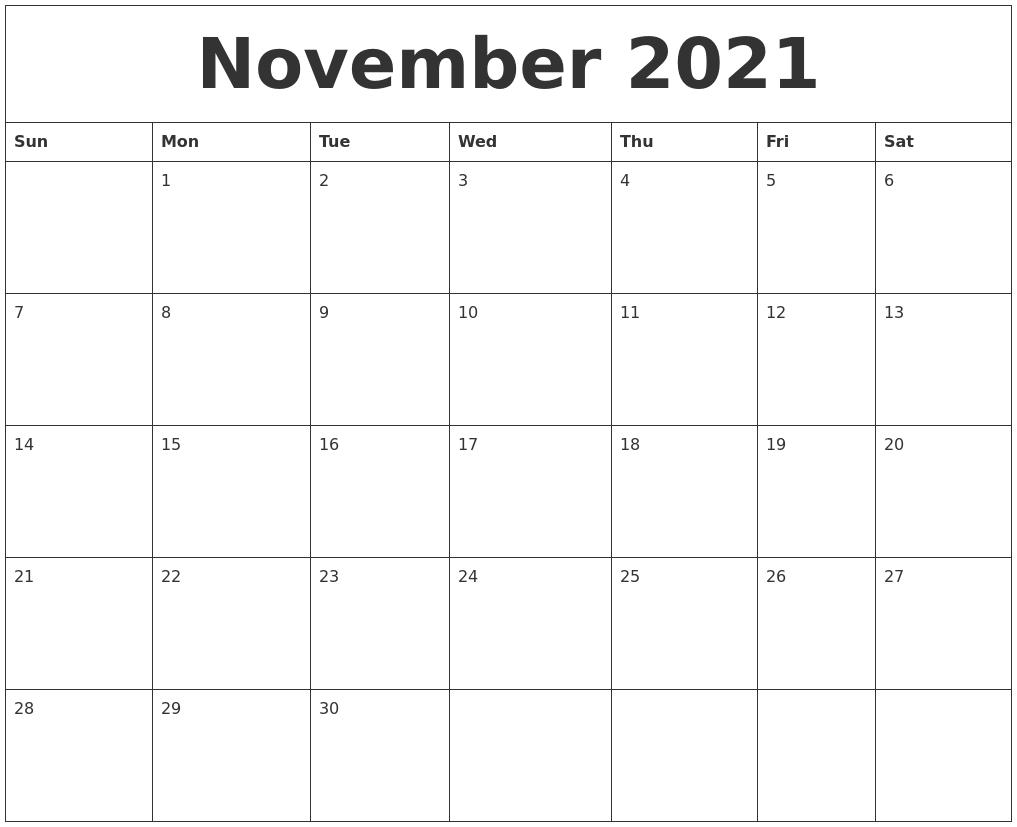 November 2021 Blank Schedule Template