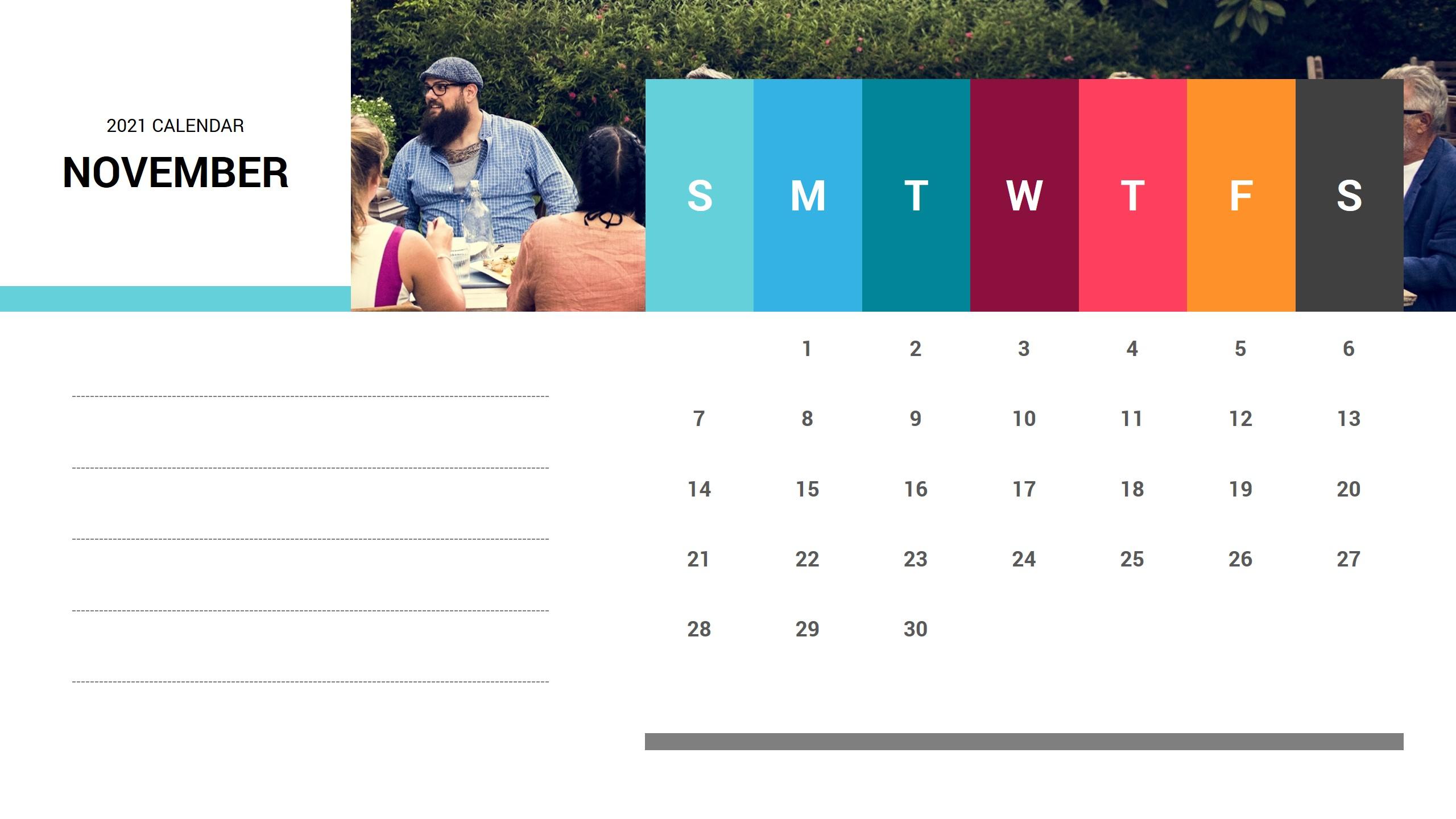 November 2021 Calendar Free Ppt Template | Ciloart