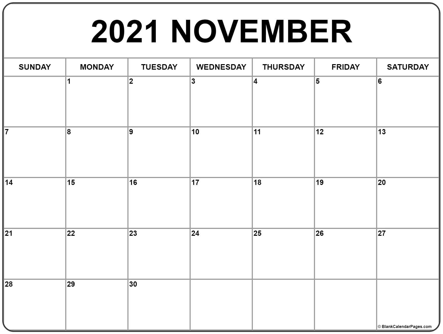 November 2021 Calendar   Free Printable Monthly Calendars