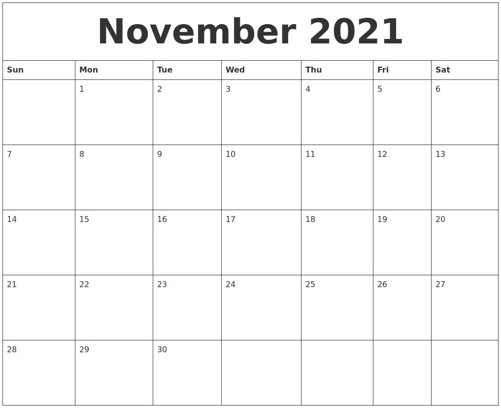 November 2021 Calendar Pages