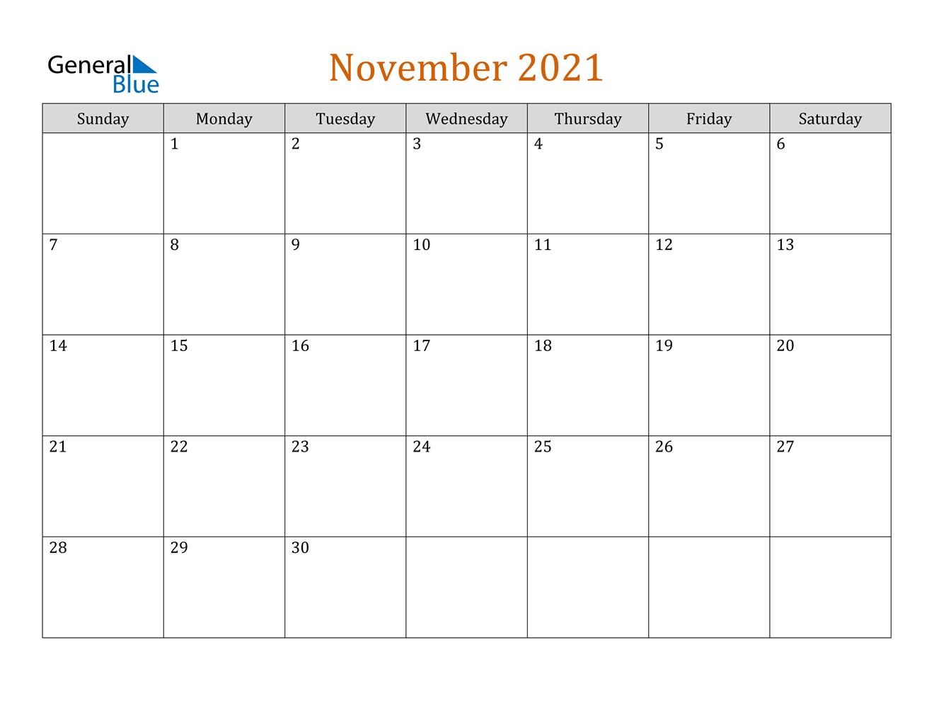 November 2021 Calendar - Pdf Word Excel