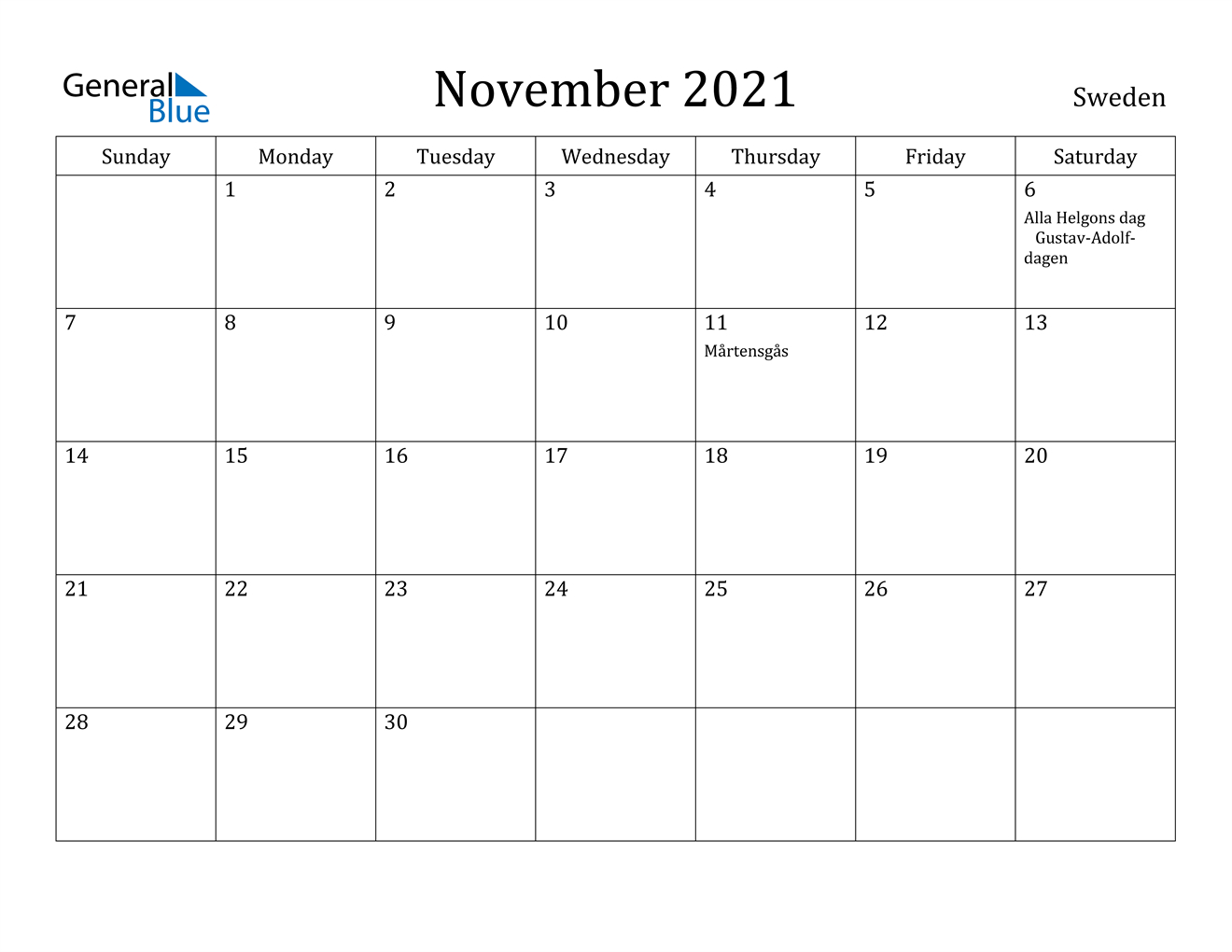 November 2021 Calendar - Sweden