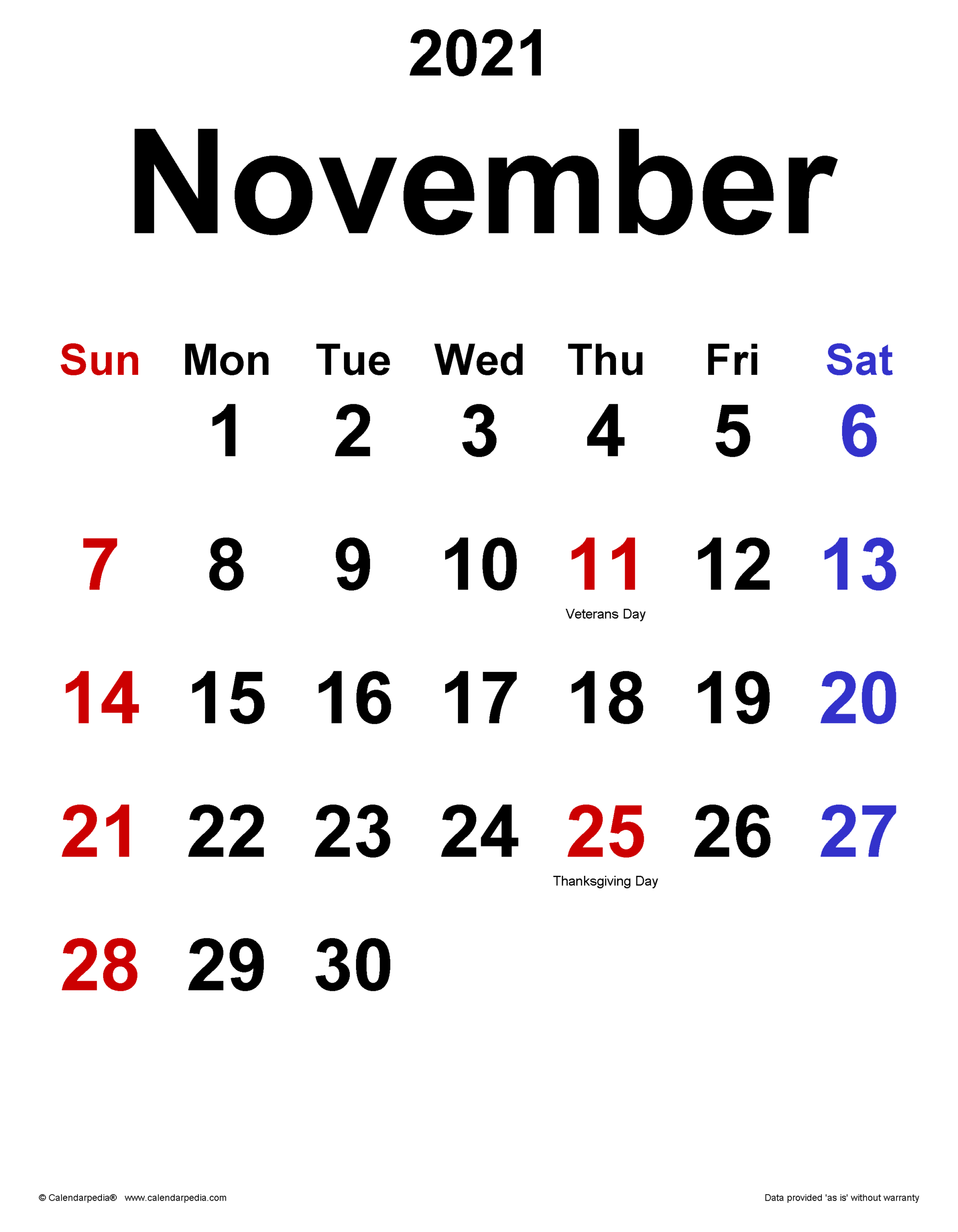 November 2021 Calendar | Templates For Word, Excel And Pdf