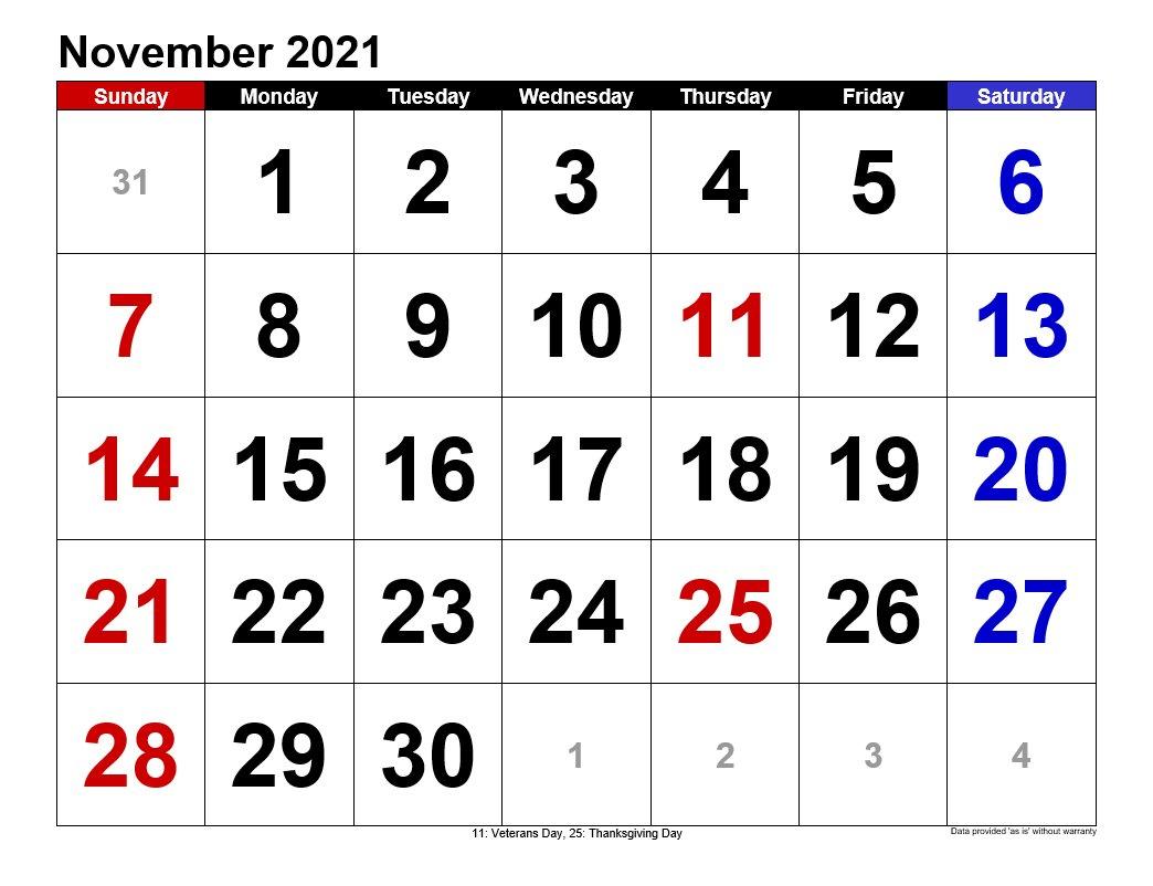 November 2021 Calendars Landscape Format