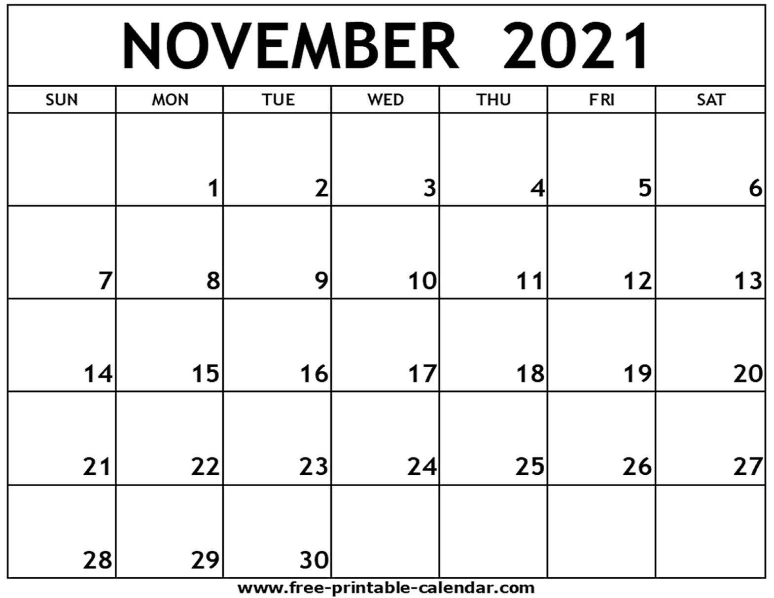 November 2021 Printable Calendar - Free-Printable-Calendar