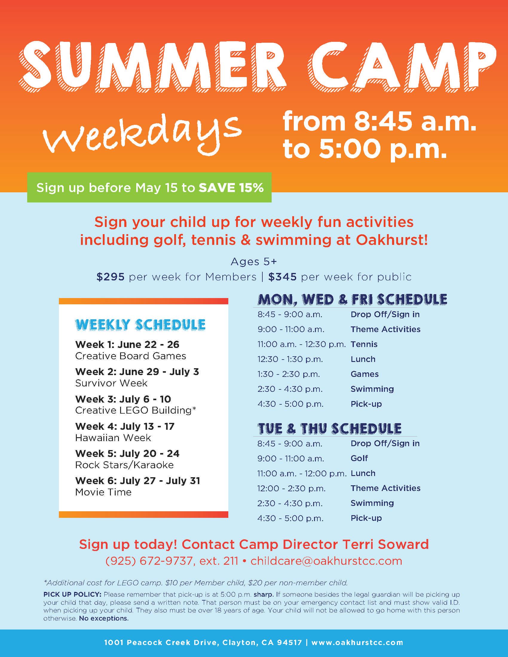 Oakhurst Summer Camp Flyer Template | Free Brochure Template