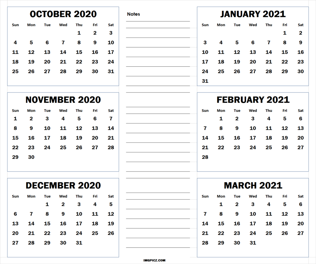 October 2020 To March 2021 Calendar Template | 6 Months 2020