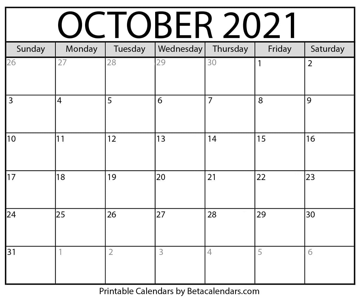 October 2021 Calendar | Blank Printable Monthly Calendars