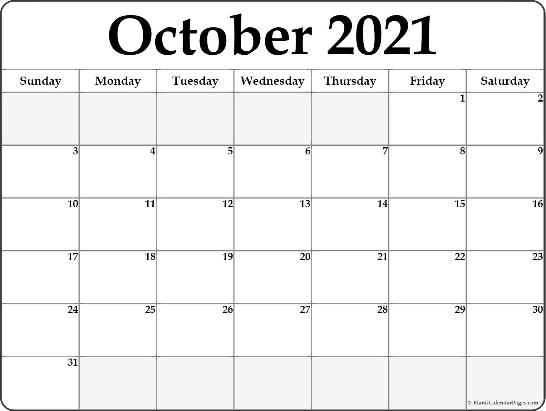 October 2021 Calendar | Free Printable Monthly Calendars