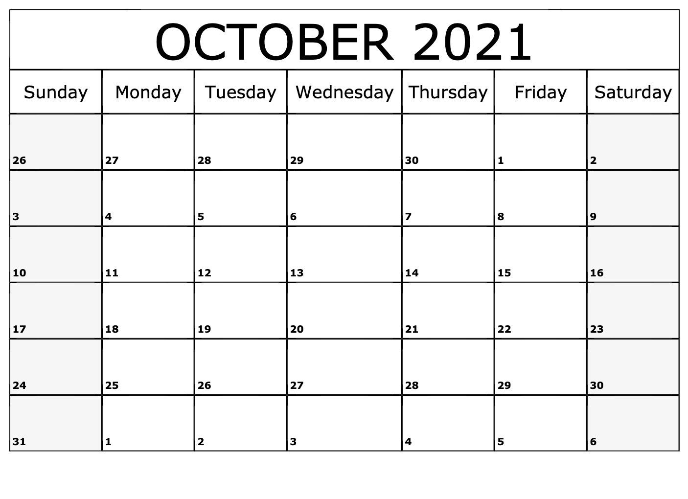 October 2021 Calendar Horizontally Free Layouts For