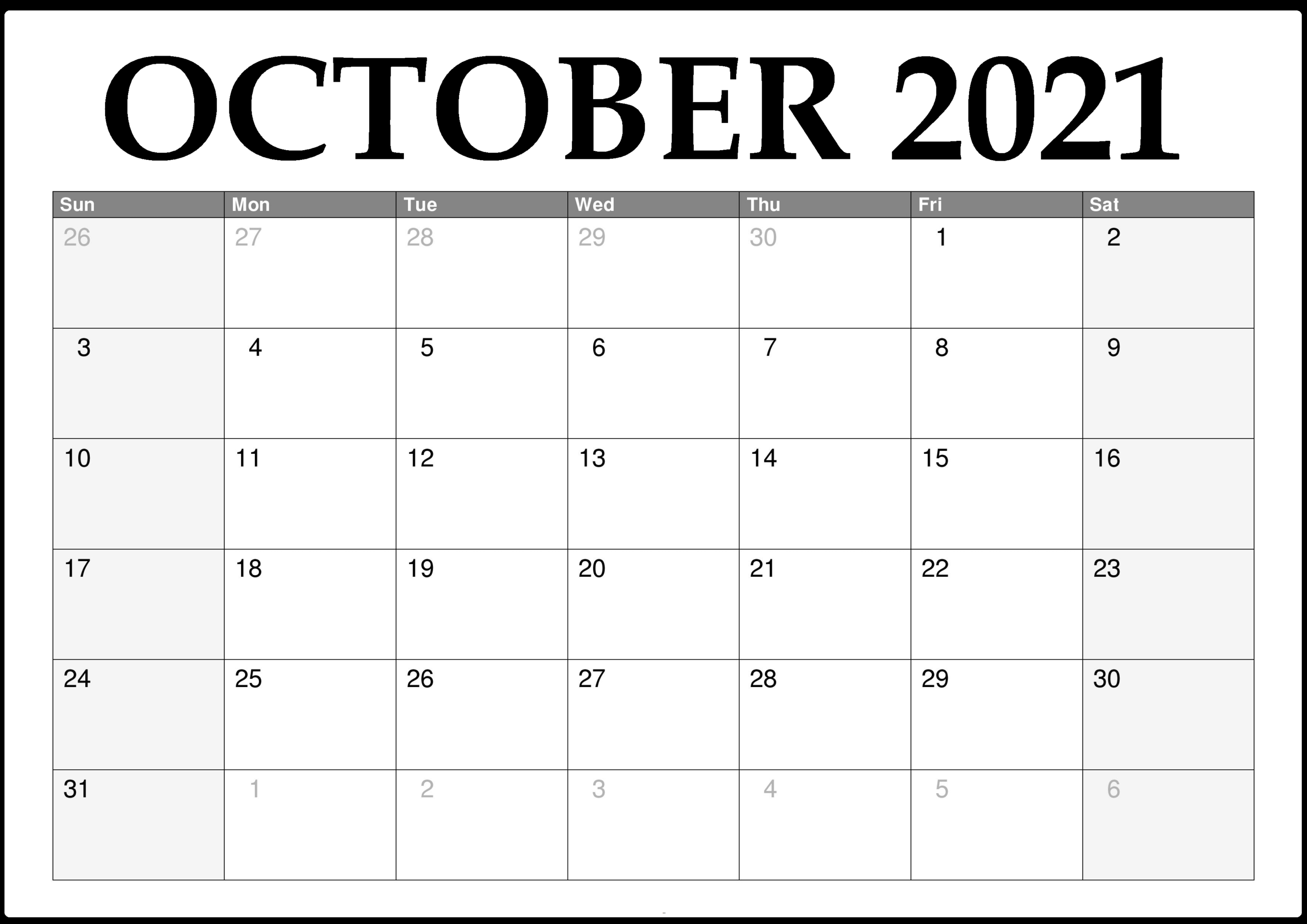 October 2021 Calendar Printable Template – Pdf, Word, Excel