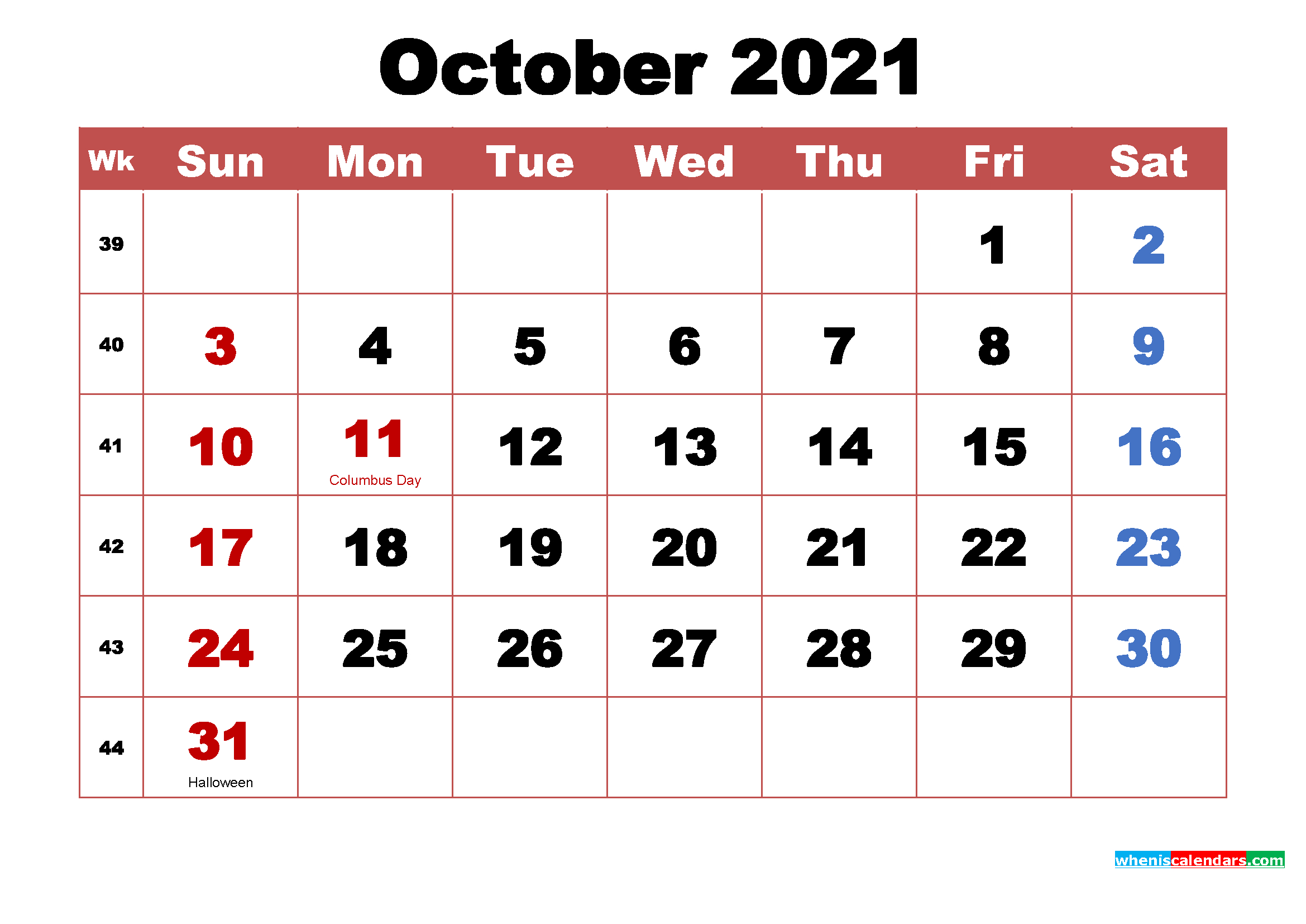 October 2021 Calendar Wallpaper High Resolution