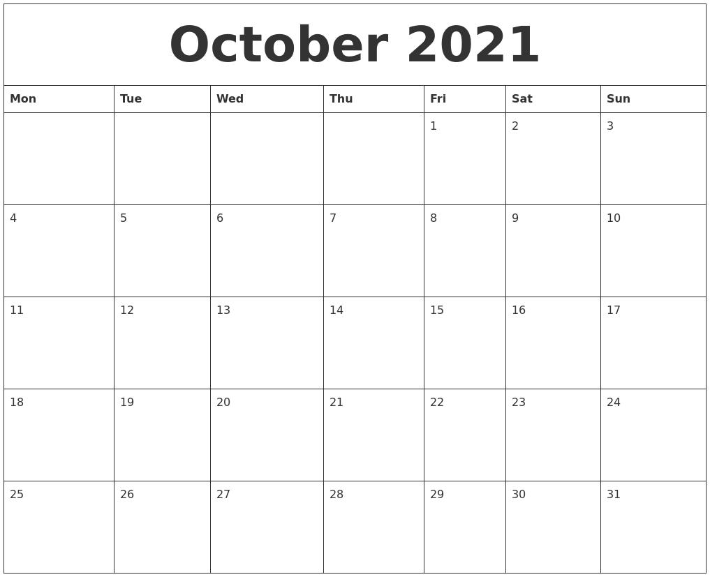 October 2021 Free Online Calendar